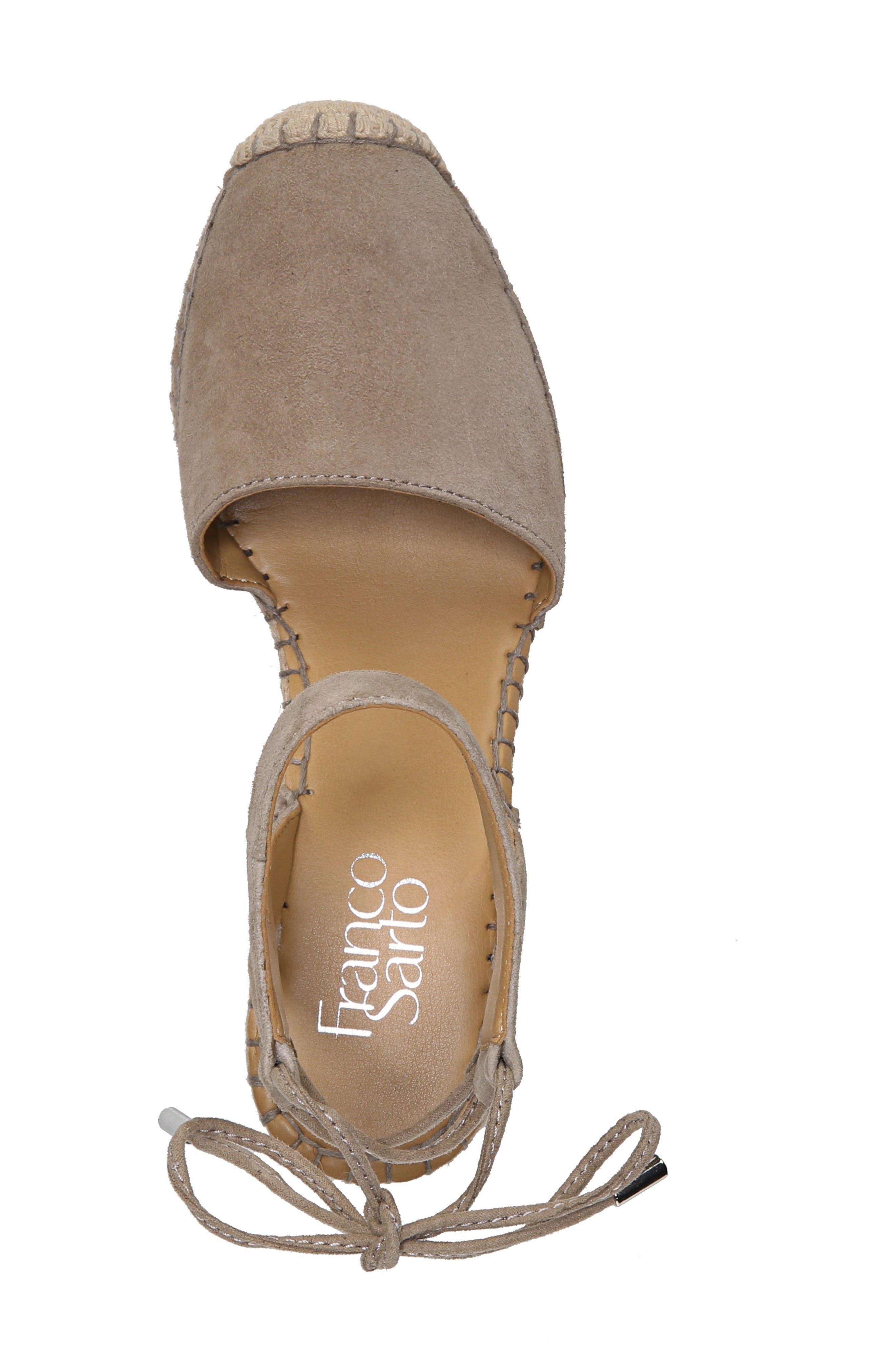 Mariska Espadrille Wedge Sandal,                             Alternate thumbnail 5, color,                             Satin Taupe Suede