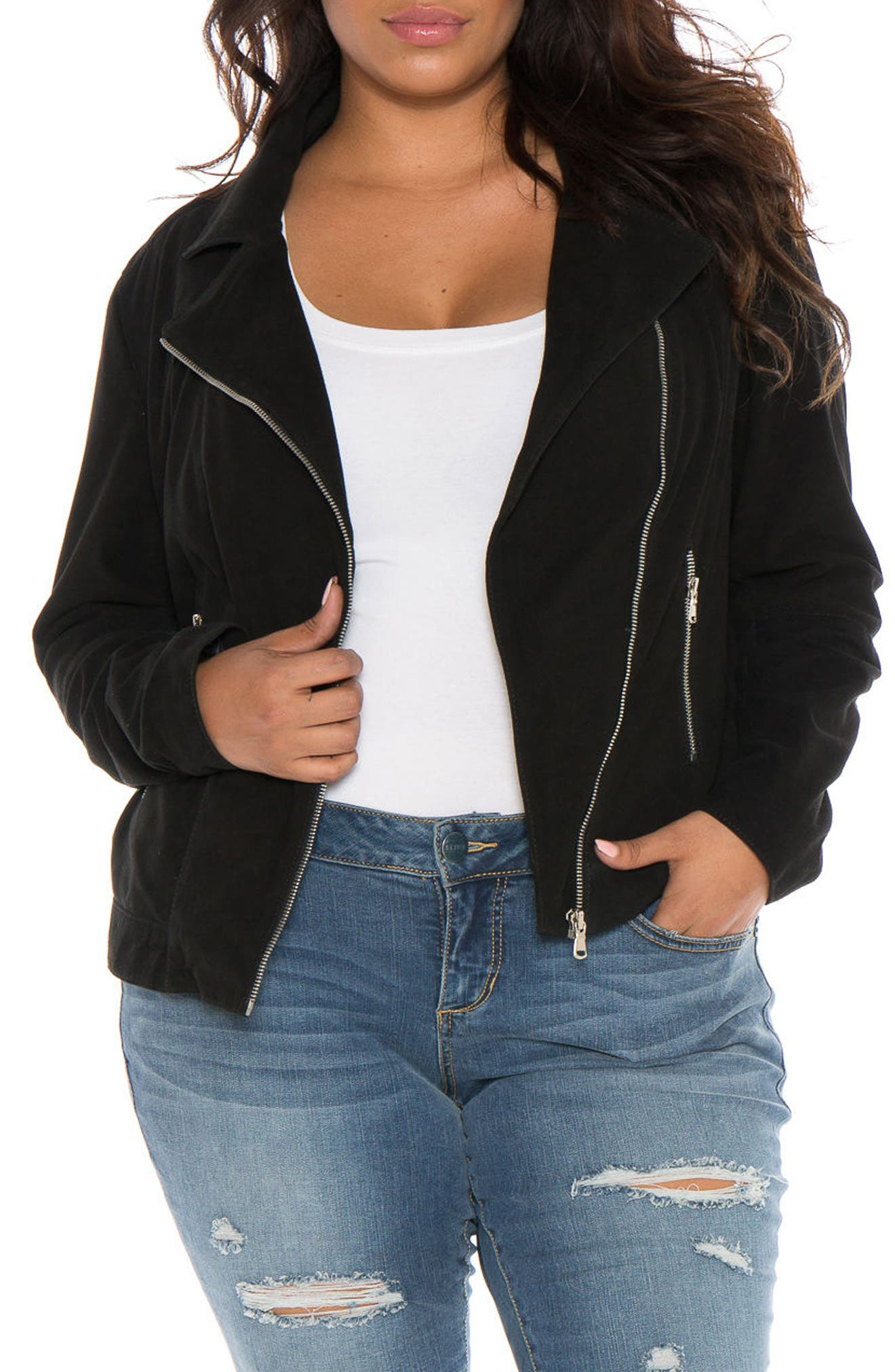 Alternate Image 4  - SLINK Jeans Canyon Suede Jacket (Plus Size)