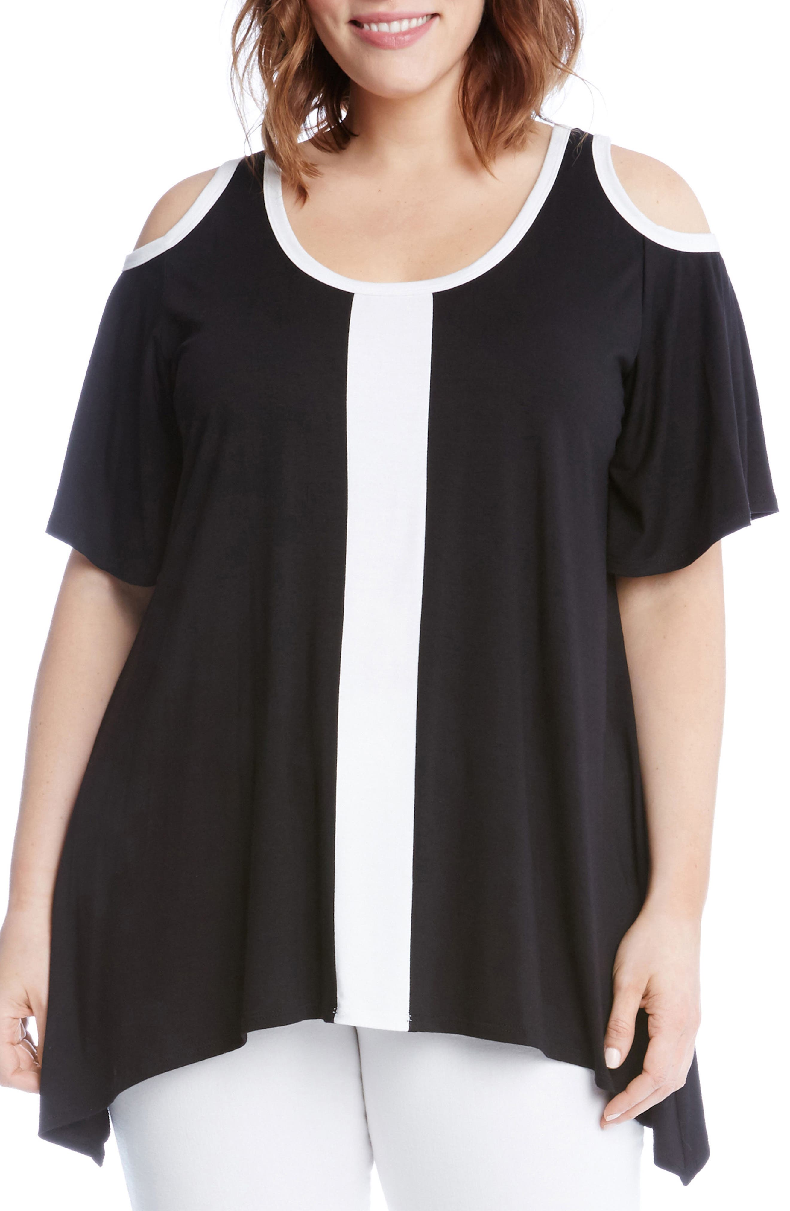Alternate Image 1 Selected - Karen Kane Colorblock Cold Shoulder Top (Plus Size)
