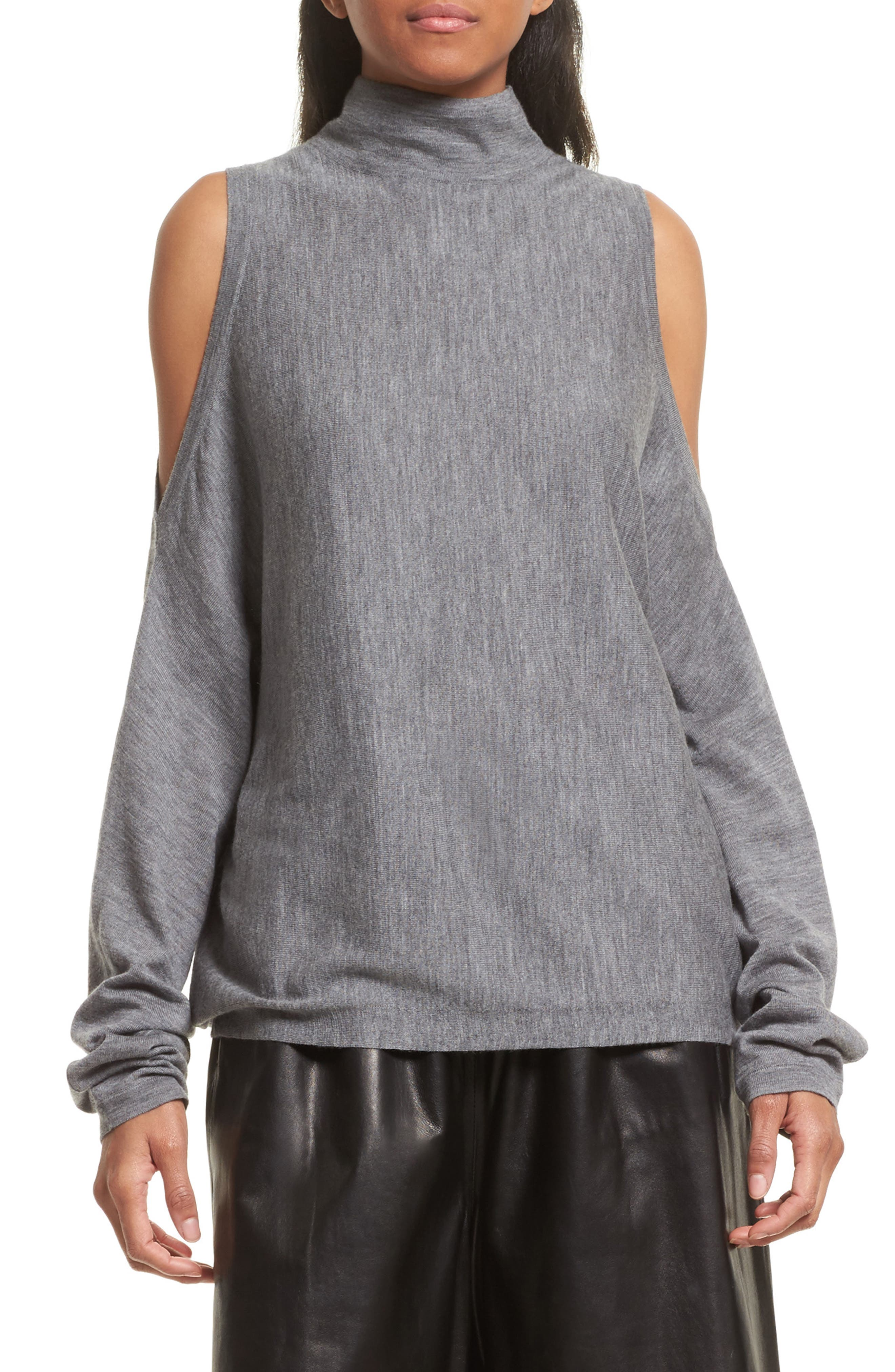 Cold Shoulder Merino Wool Sweater,                             Main thumbnail 1, color,                             Heather Grey