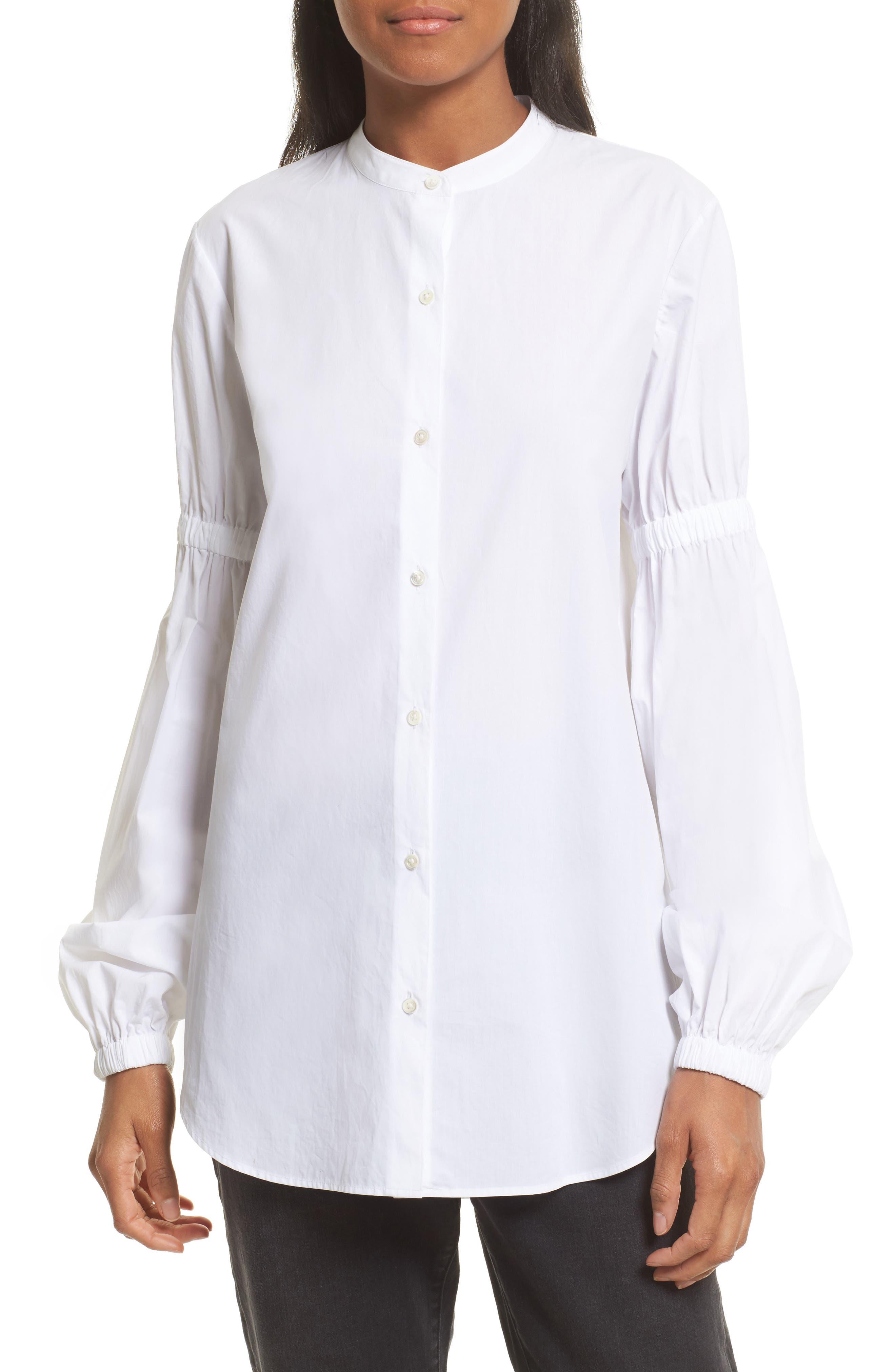 Robert Rodriguez Puff Sleeve Cotton Poplin Shirt