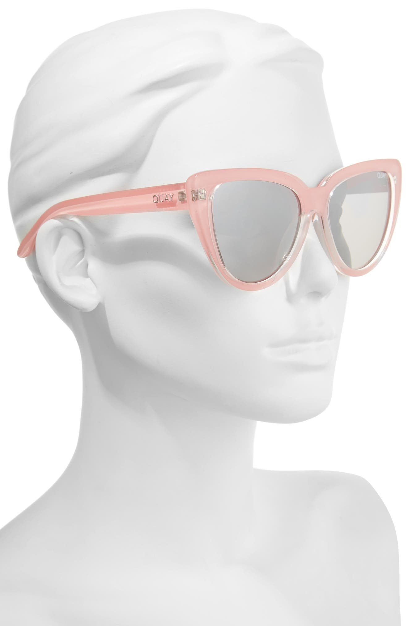 Stray Cat 58mm Mirrored Cat Eye Sunglasses,                             Alternate thumbnail 2, color,                             Peach/ Gradual Flash Mirror