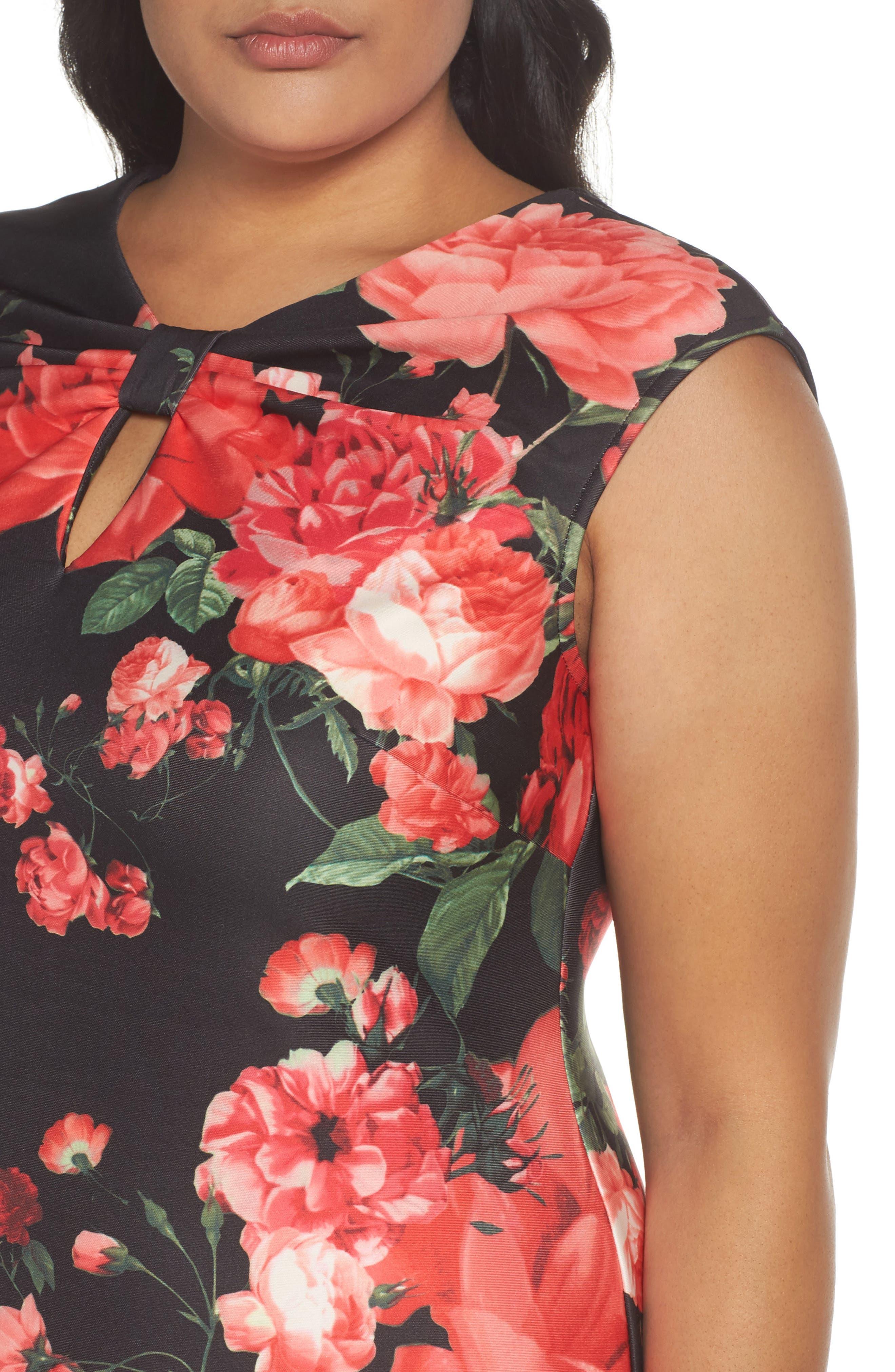 Floral Print Sheath Dress,                             Alternate thumbnail 4, color,                             Black/ Red