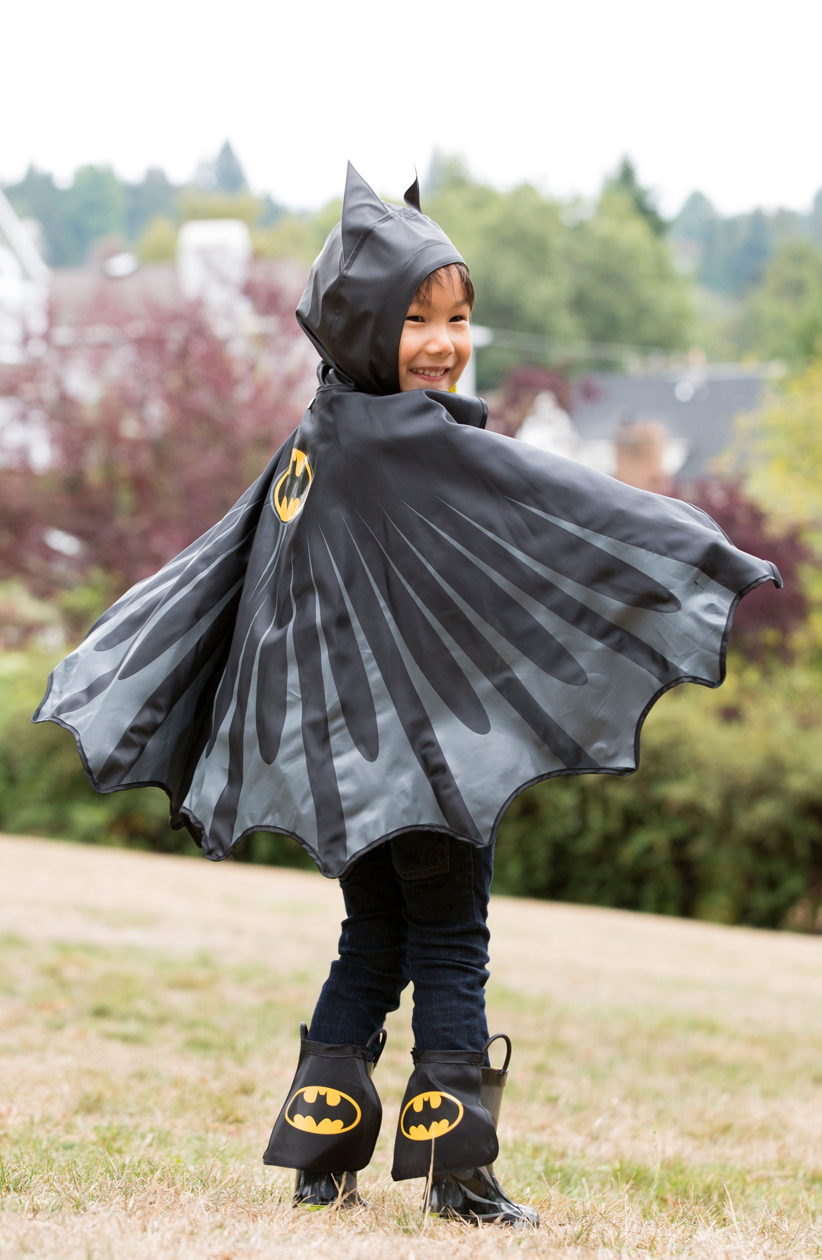 Batman Everlasting Hooded Raincoat,                             Alternate thumbnail 6, color,                             Black
