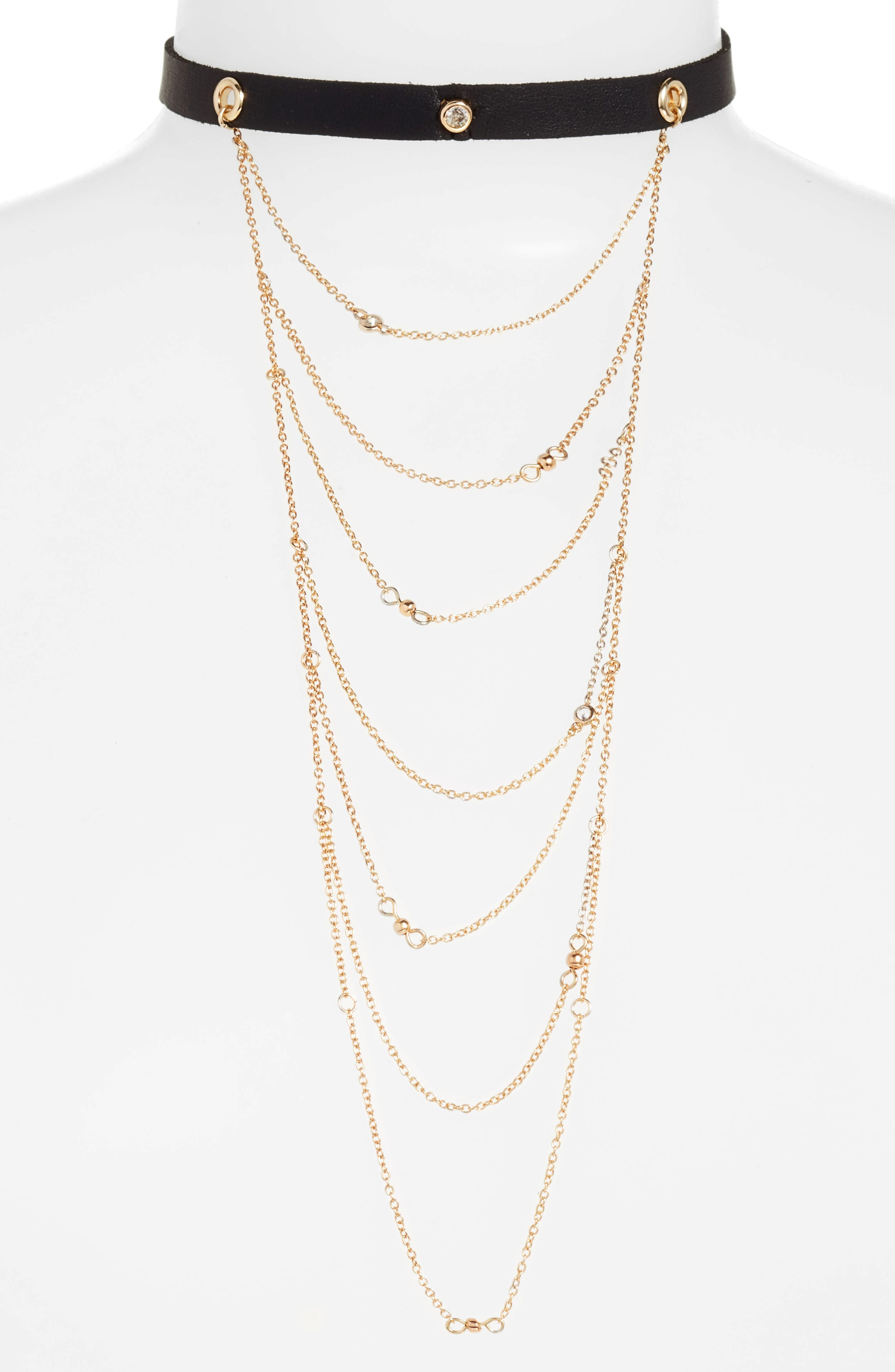 Layered Chain & Leather Choker,                         Main,                         color, Black