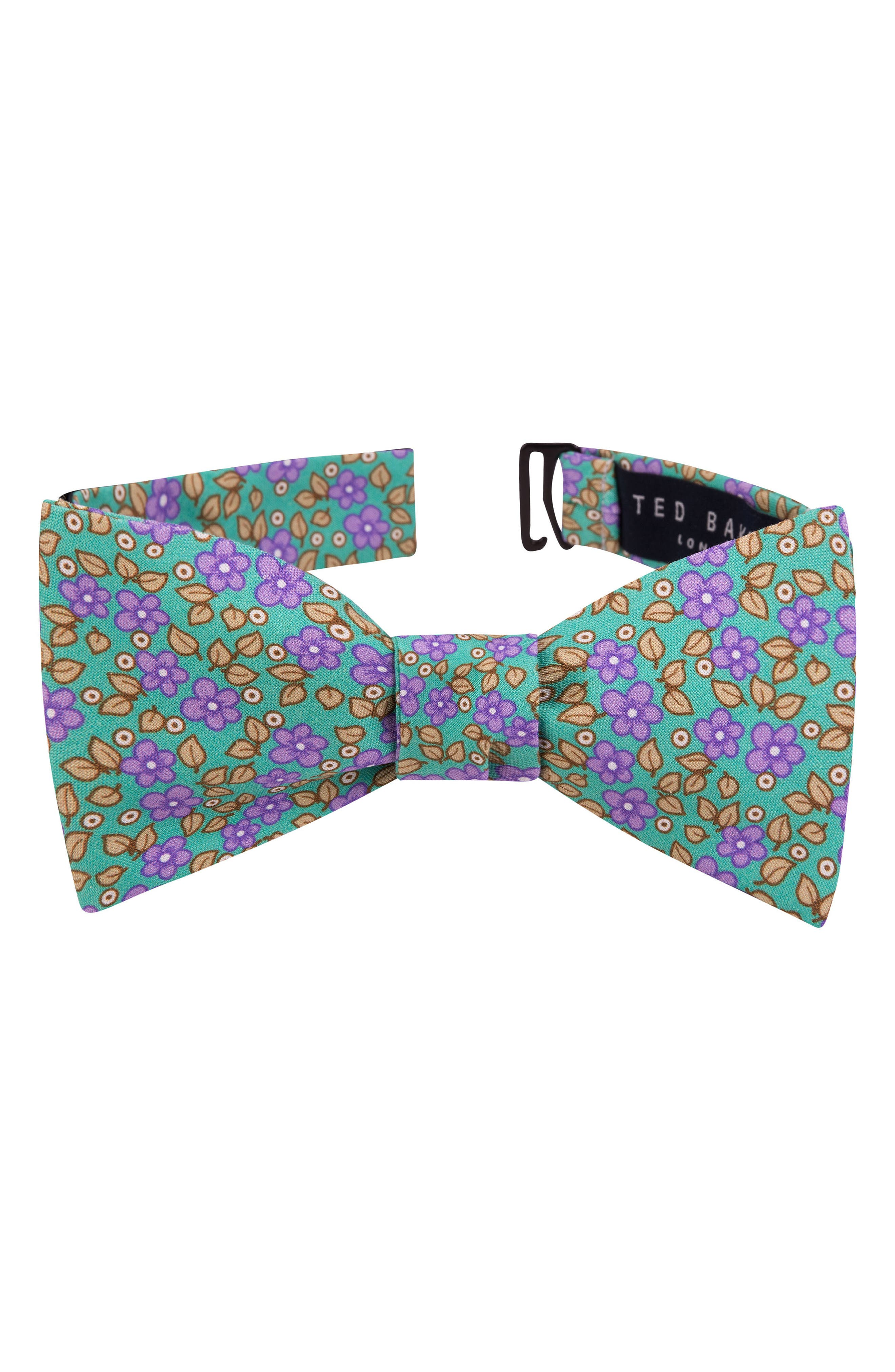 Carnaby Floral Silk Bow Tie,                             Main thumbnail 1, color,                             Mint