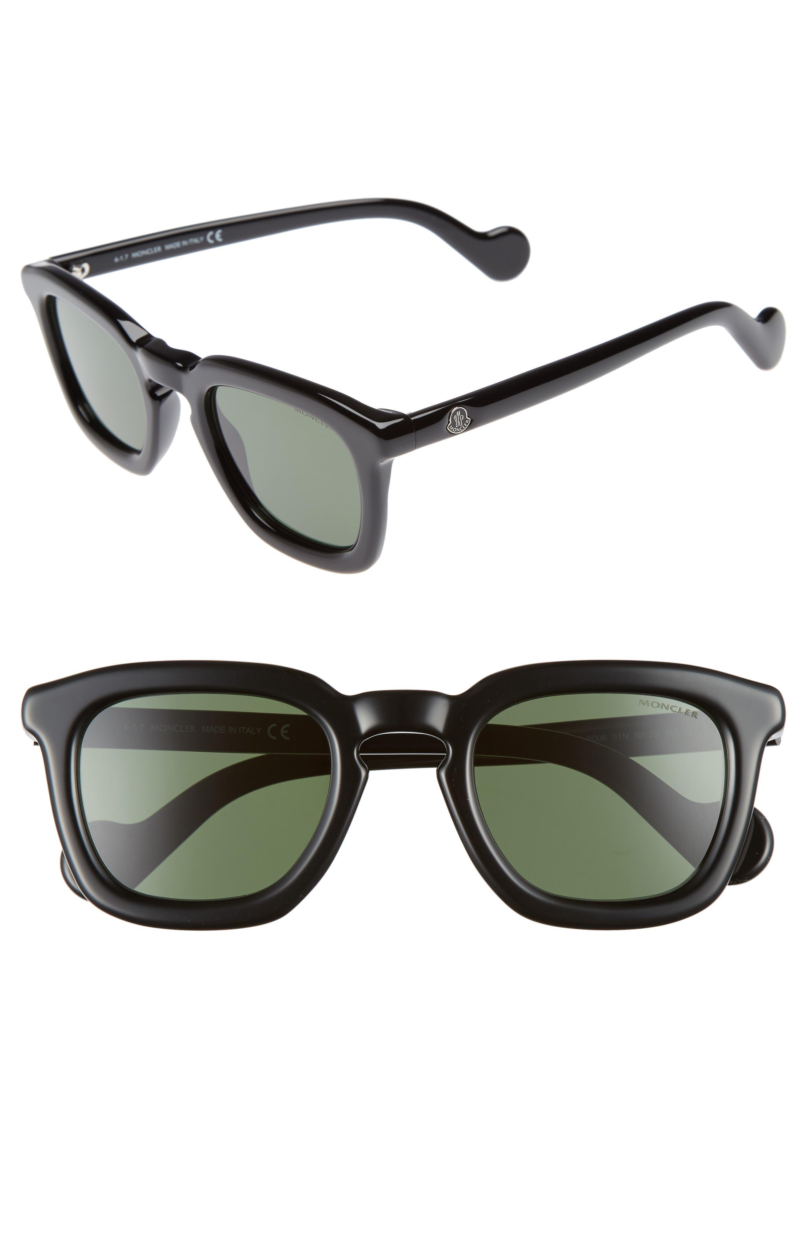 50mm Sunglasses,                         Main,                         color, Shiny Black/ Green