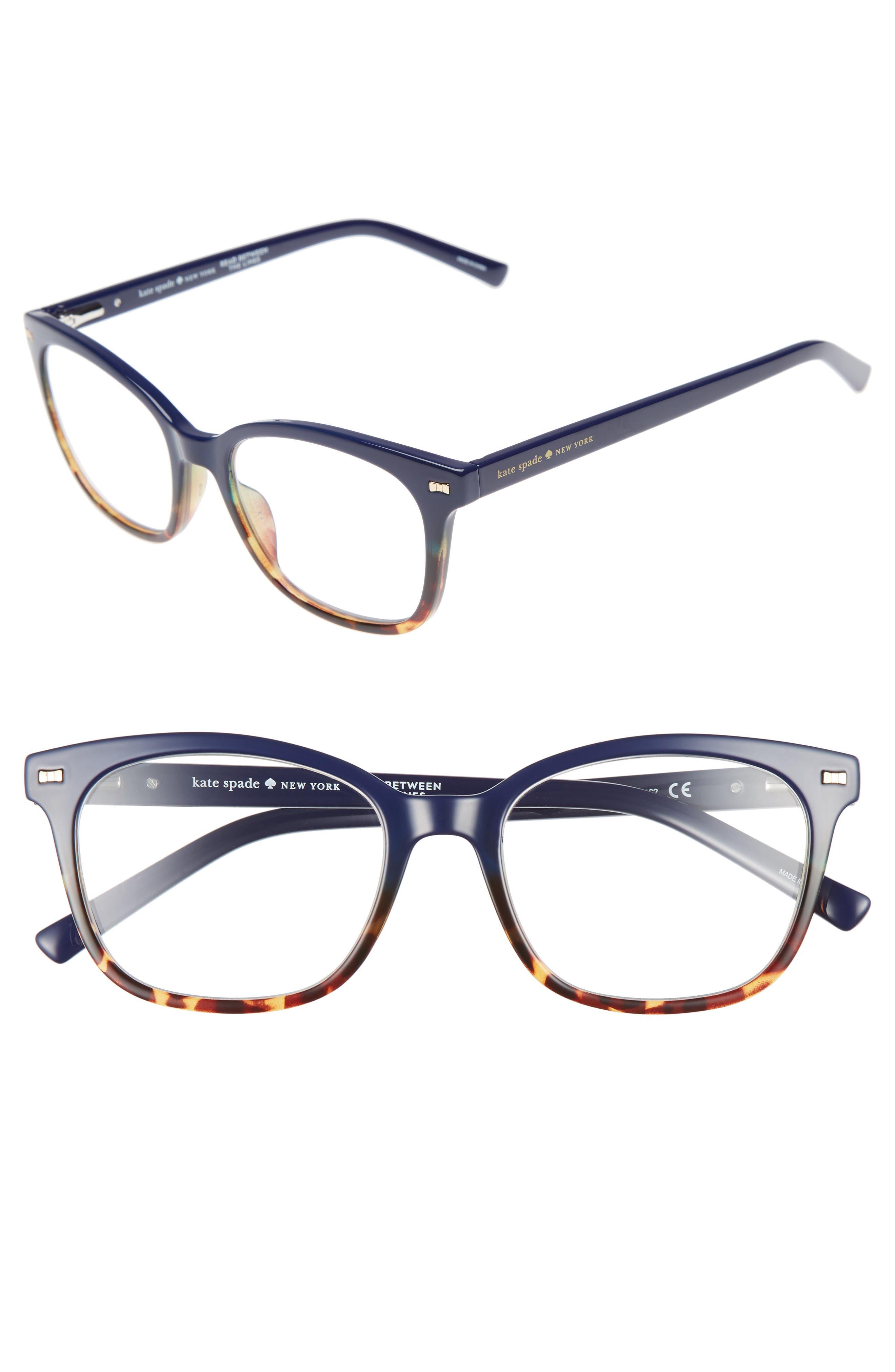 keadra 51mm reading glasses,                             Main thumbnail 1, color,                             Blue Havana