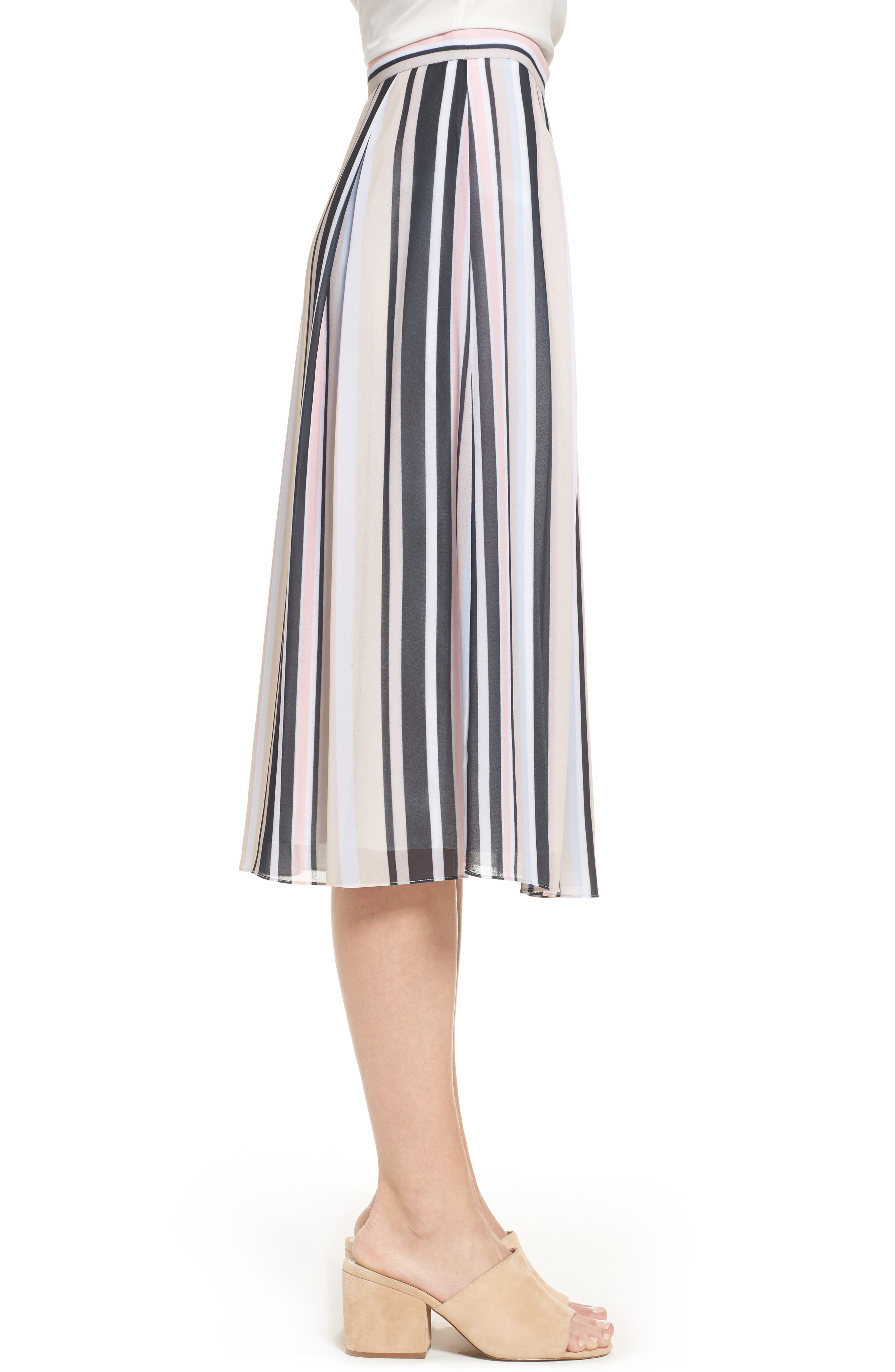 Stripe A-Line Skirt,                             Alternate thumbnail 3, color,                             Black/ Beach Combo