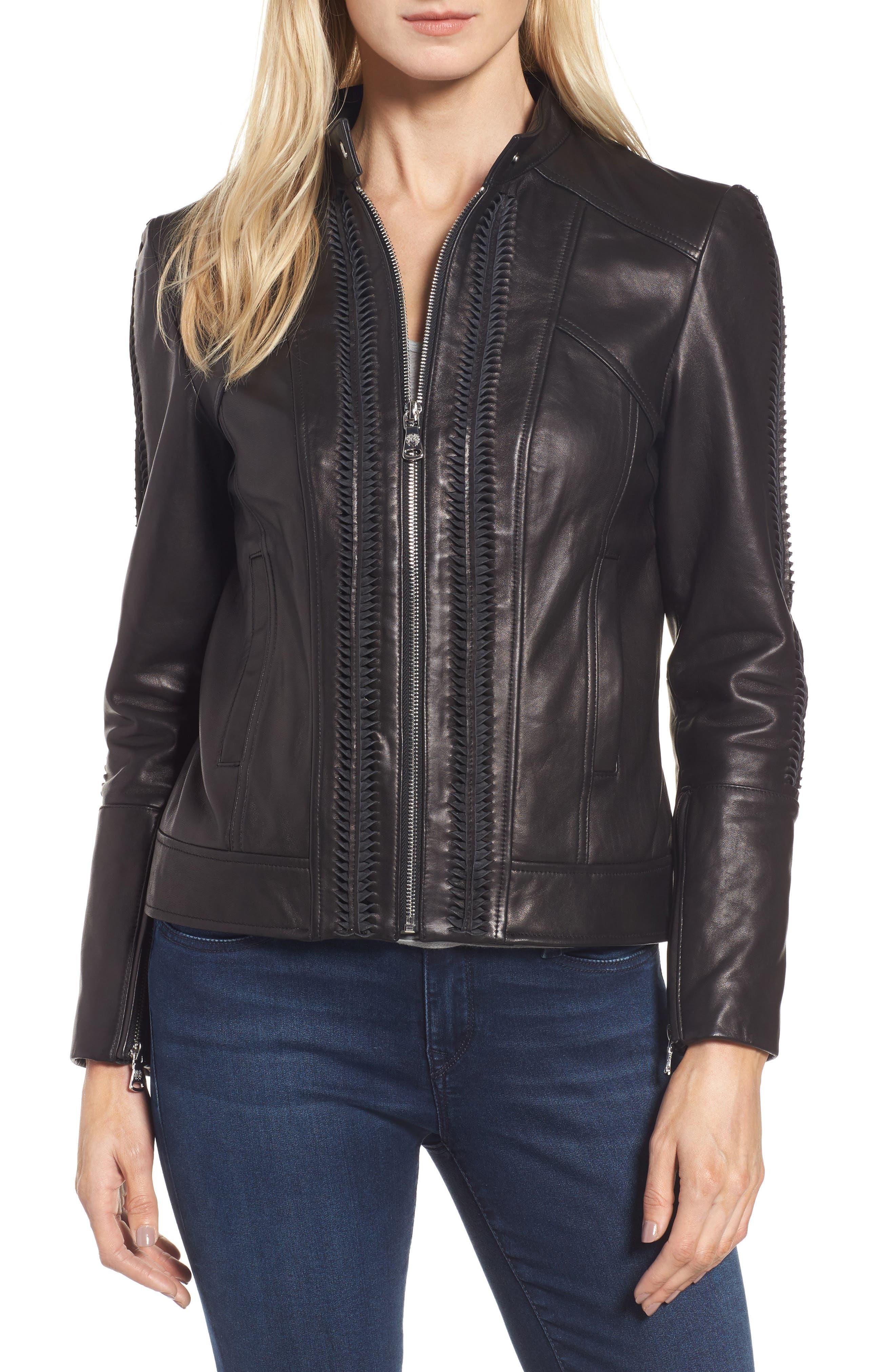 Braid Detail Leather Jacket,                             Main thumbnail 1, color,                             Black