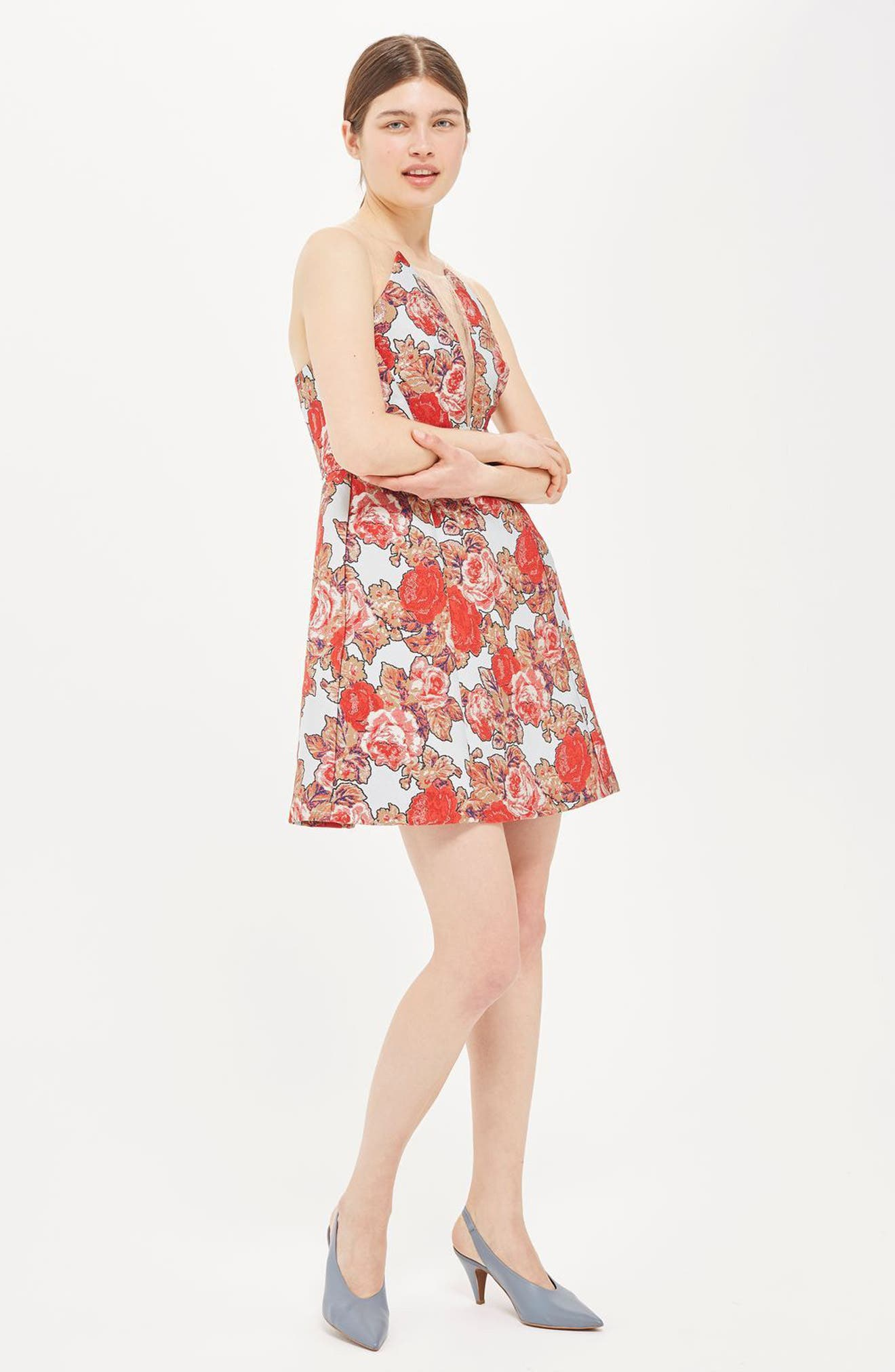 Illusion Jacquard Minidress,                             Alternate thumbnail 3, color,                             Red Multi