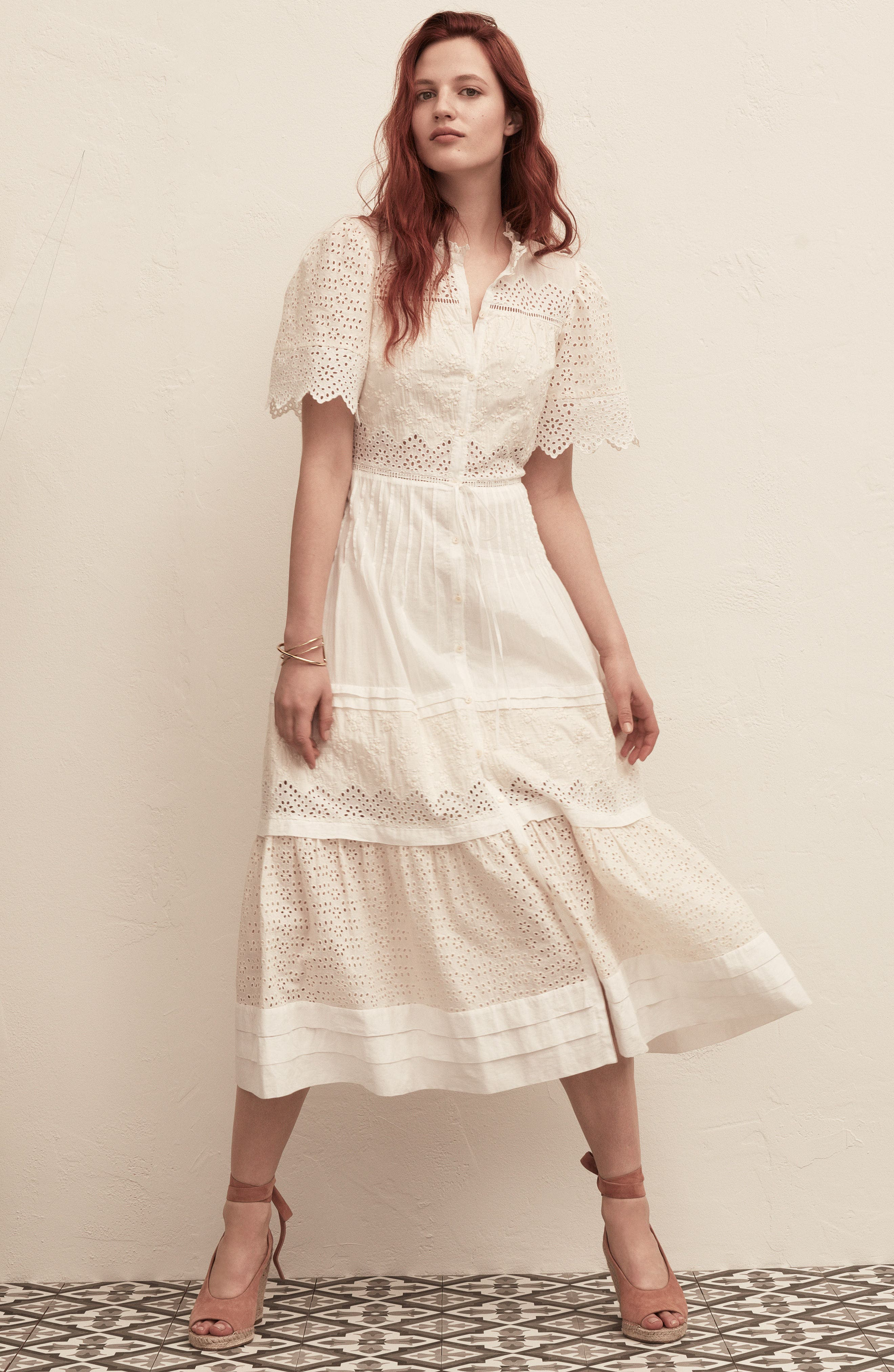 Alternate Image 2  - La Vie Rebecca Taylor Embroidered Voile Midi Dress