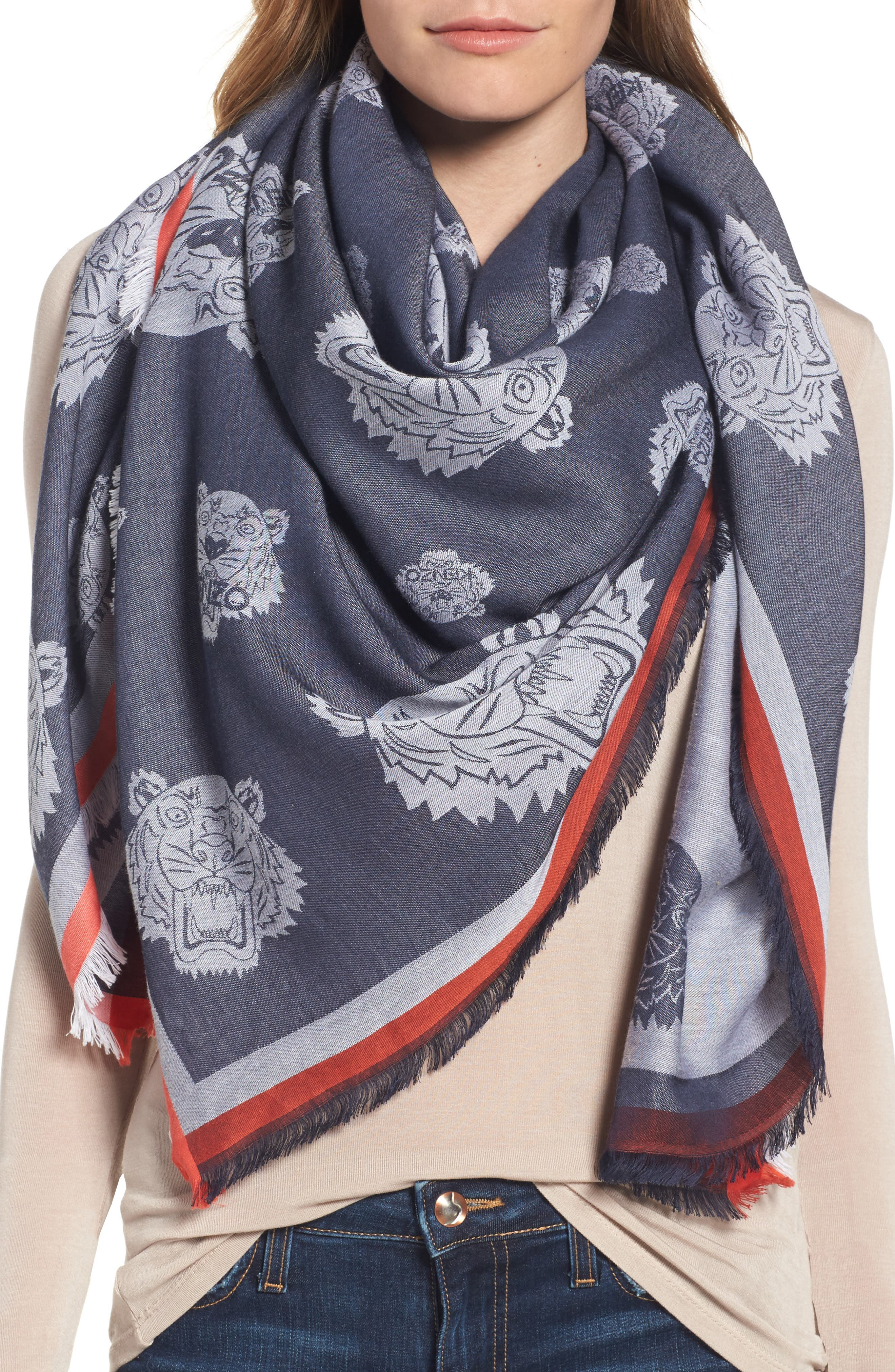 Alternate Image 1 Selected - KENZO Tiger Square Scarf