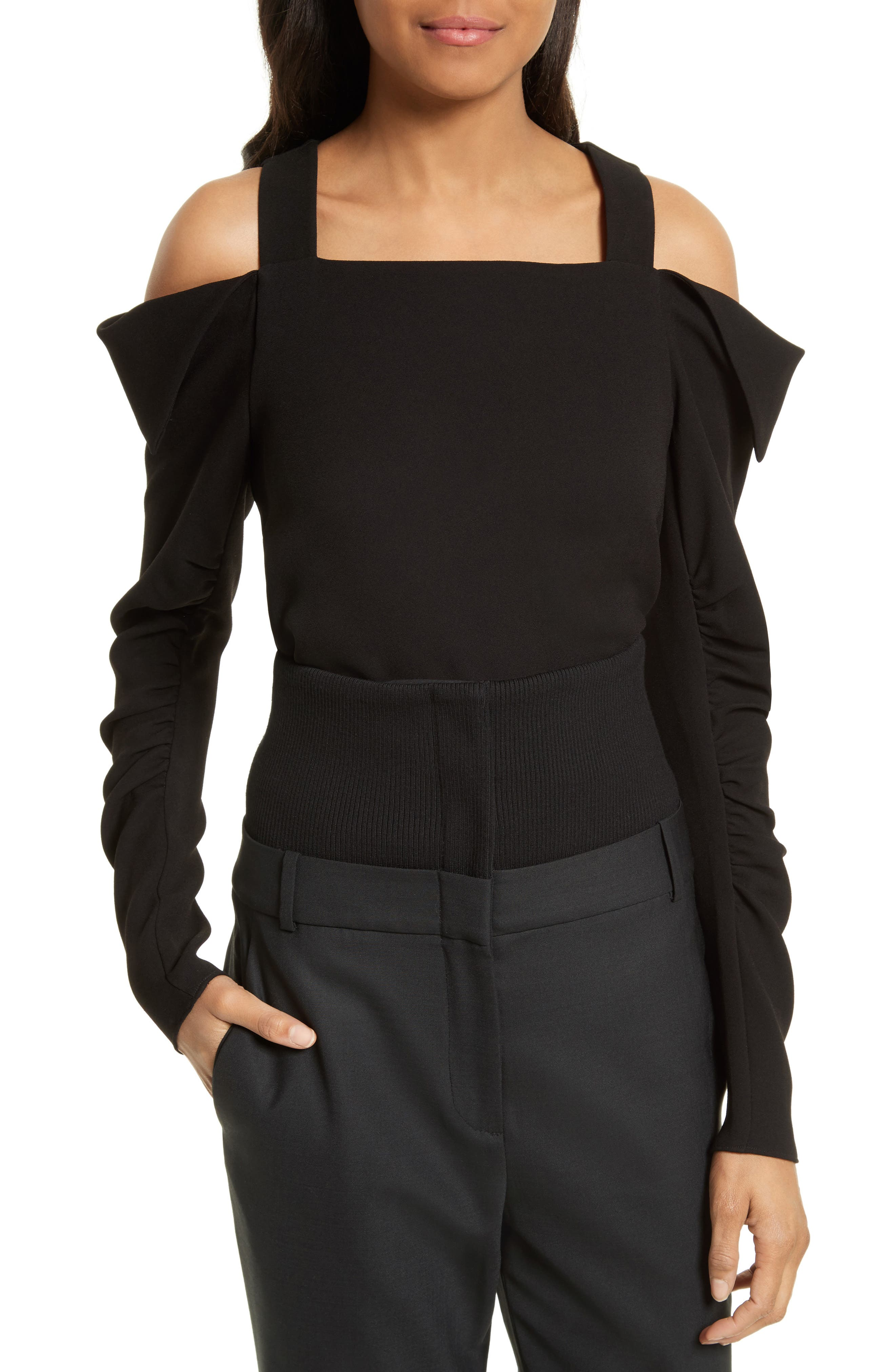 Crepe Open Shoulder Top,                         Main,                         color, Black
