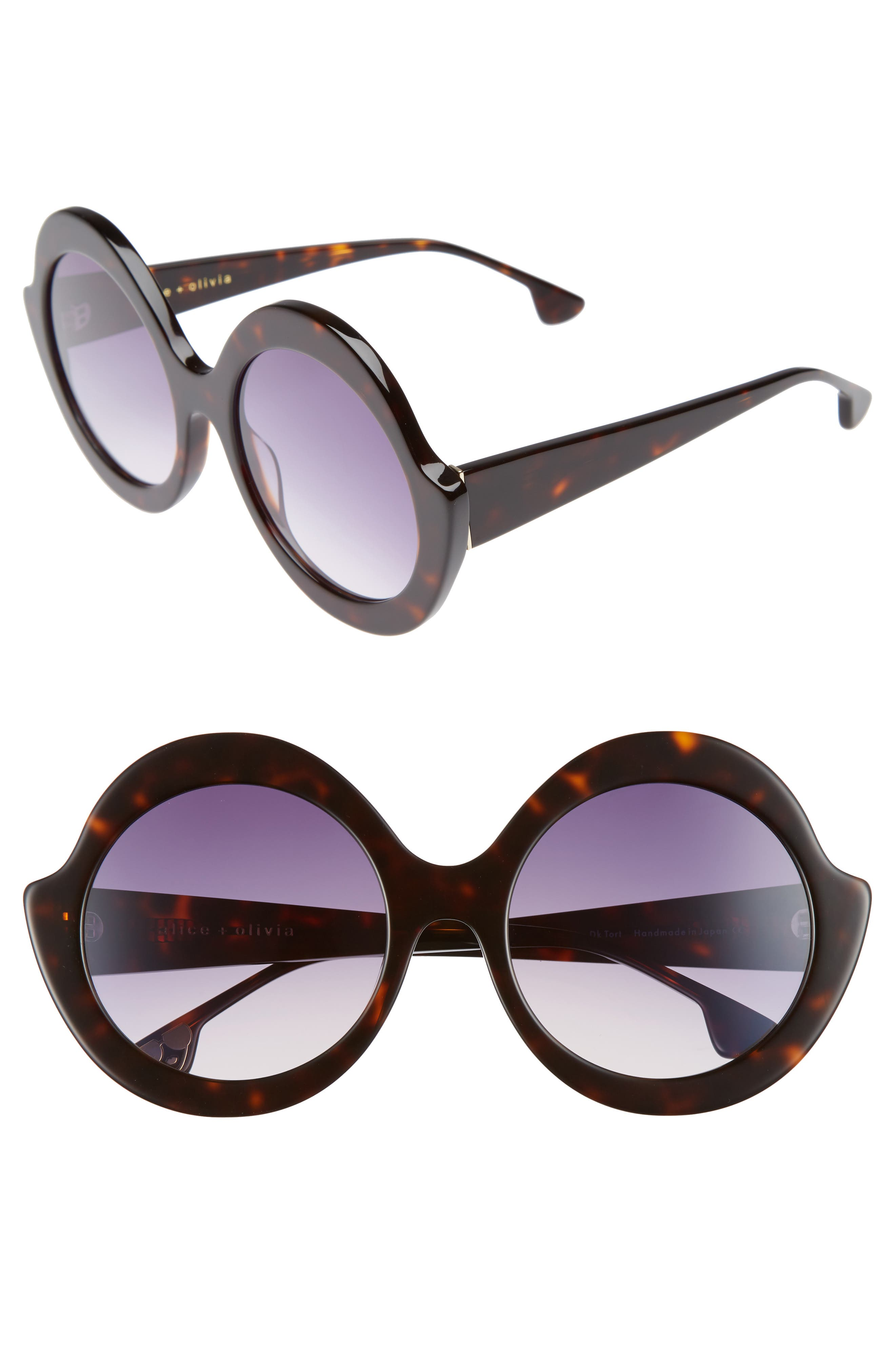 ALICE AND OLIVIA STACEY 56MM ROUND GRADIENT LENS SUNGLASSES - DARK TORTOISE, BROWN PATTERN