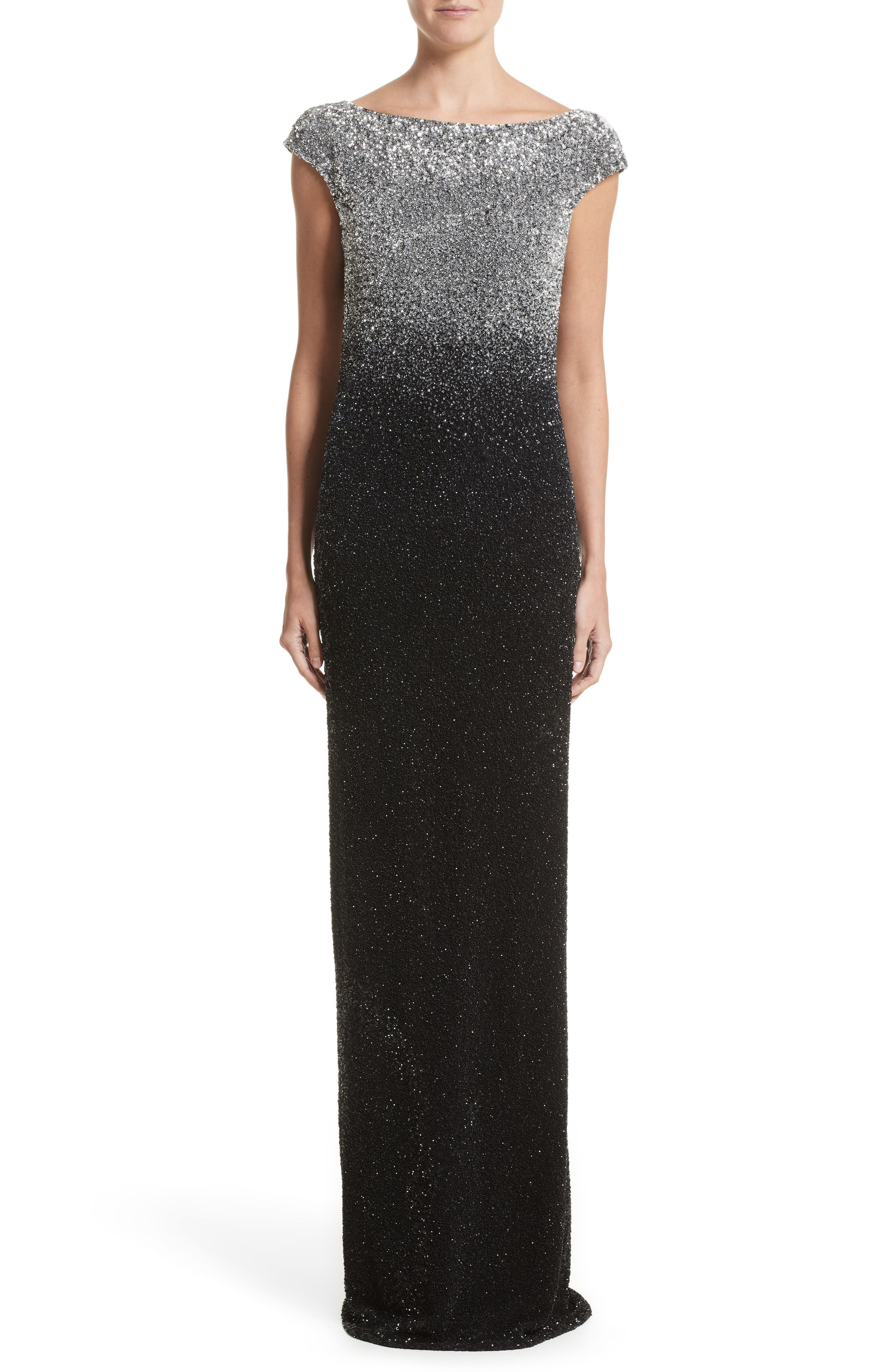 Drape Back Ombré Sequin Gown,                             Main thumbnail 1, color,                             Gunmetal/Navy/Black