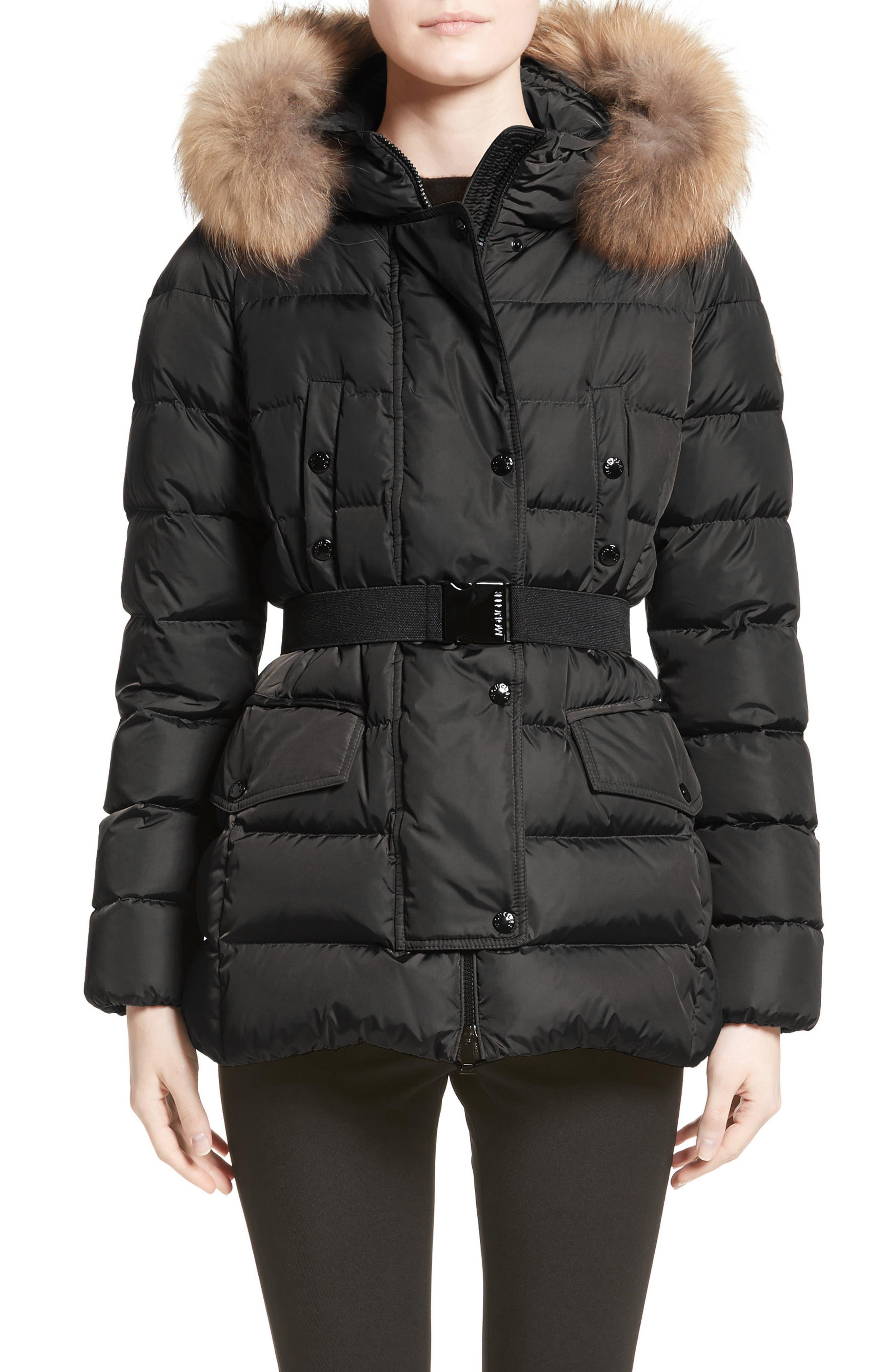 Moncler black coat with fur