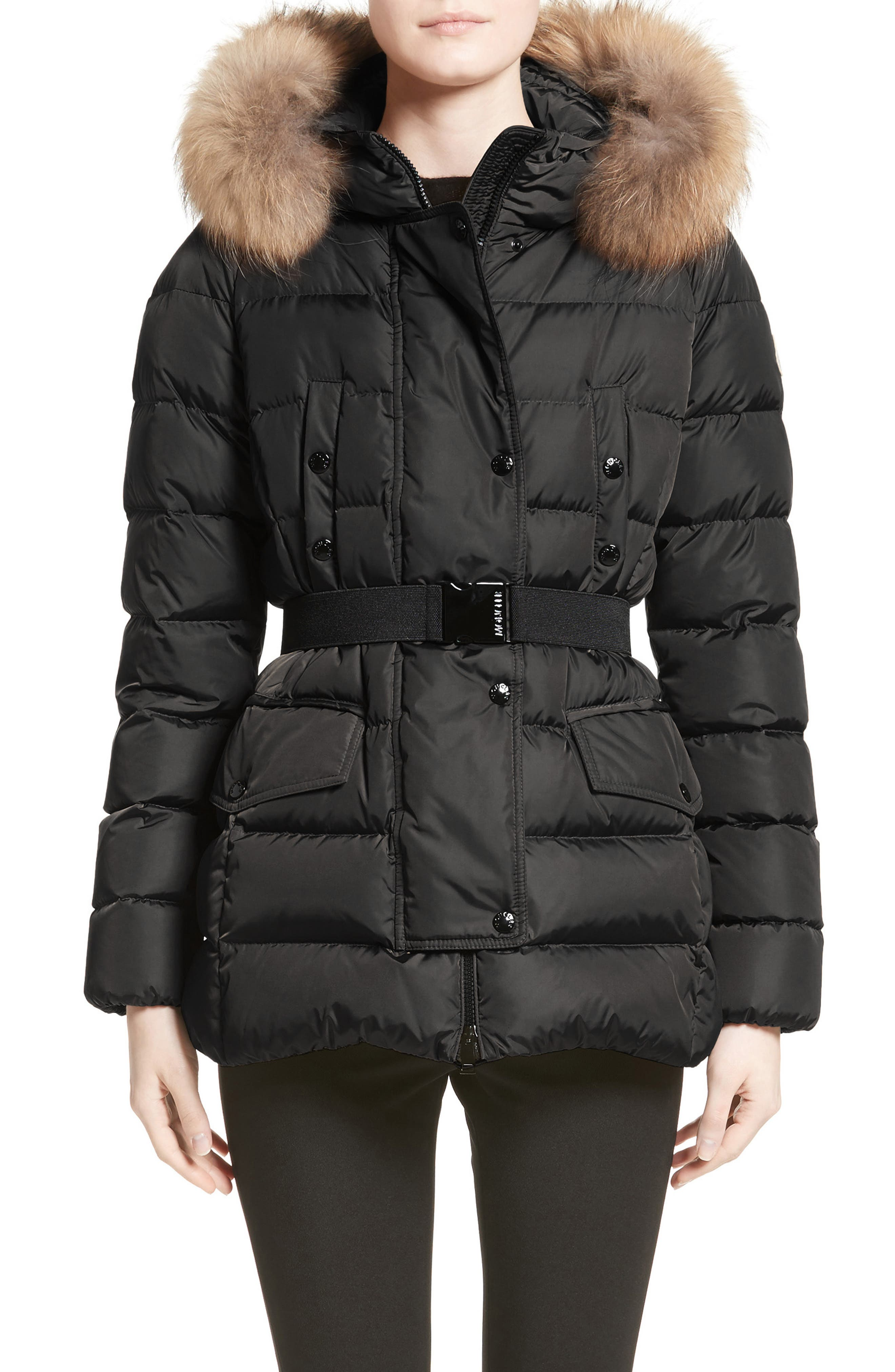 Clio Belted Down Puffer Coat with Removable Genuine Fox Fur Trim,                             Main thumbnail 1, color,                             Black