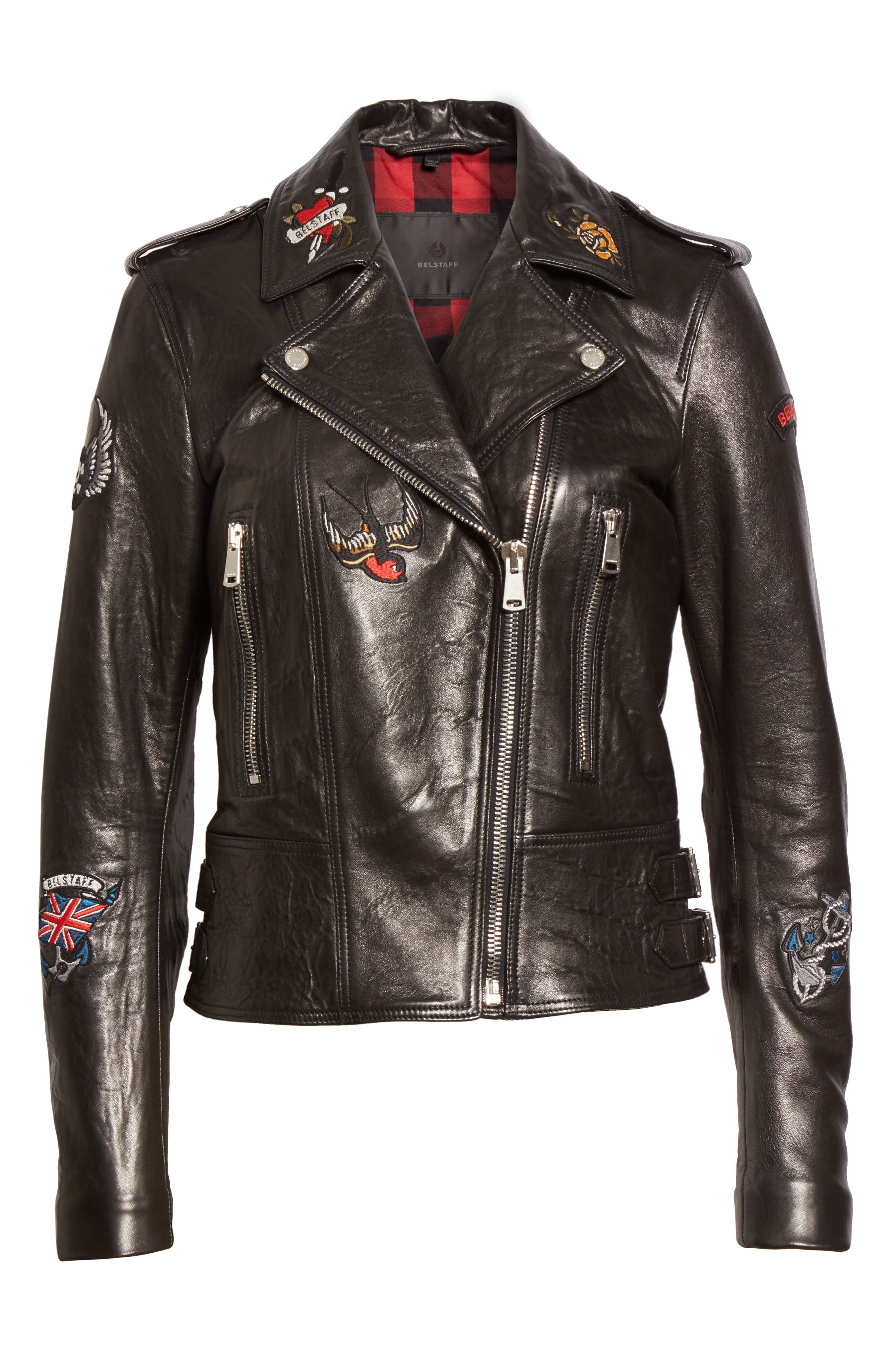 Mariner Marving-T Leather Moto Jacket,                             Alternate thumbnail 4, color,                             Black