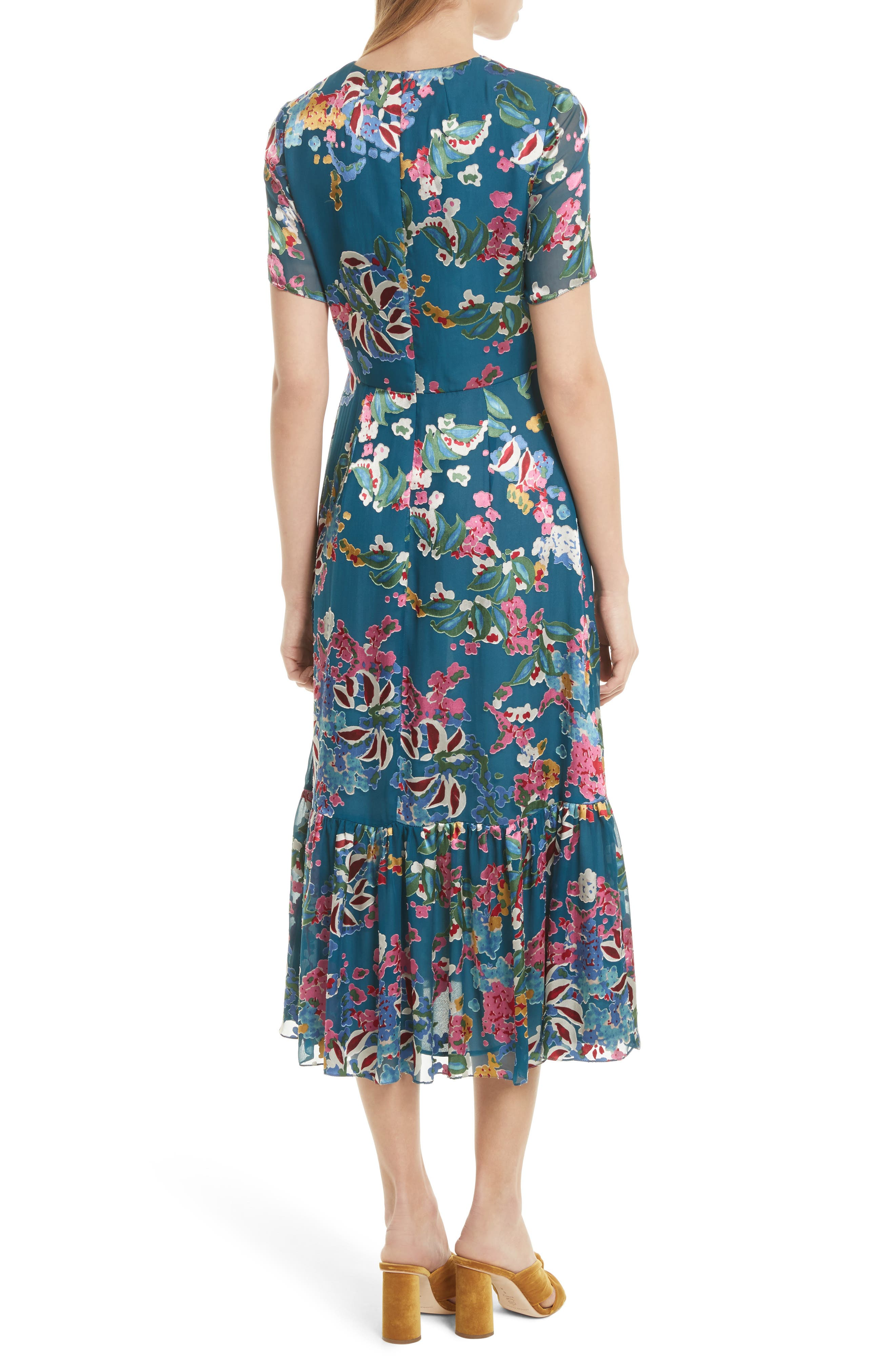 Alternate Image 2  - SALONI Lorna Print Ruffle Hem Midi Dress