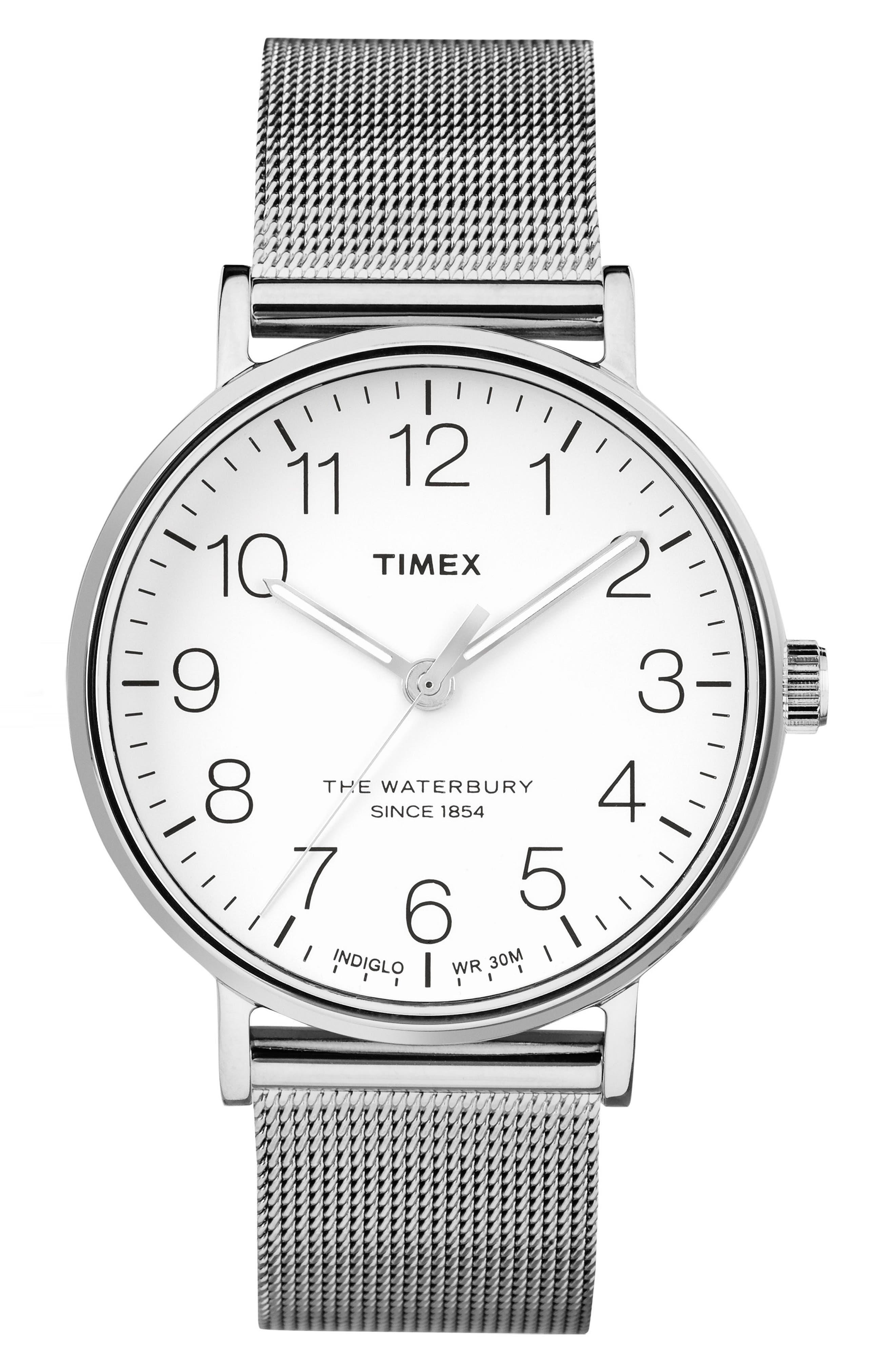 Waterbury Mesh Strap Watch, 40mm,                         Main,                         color, Silver/ White/ Silver
