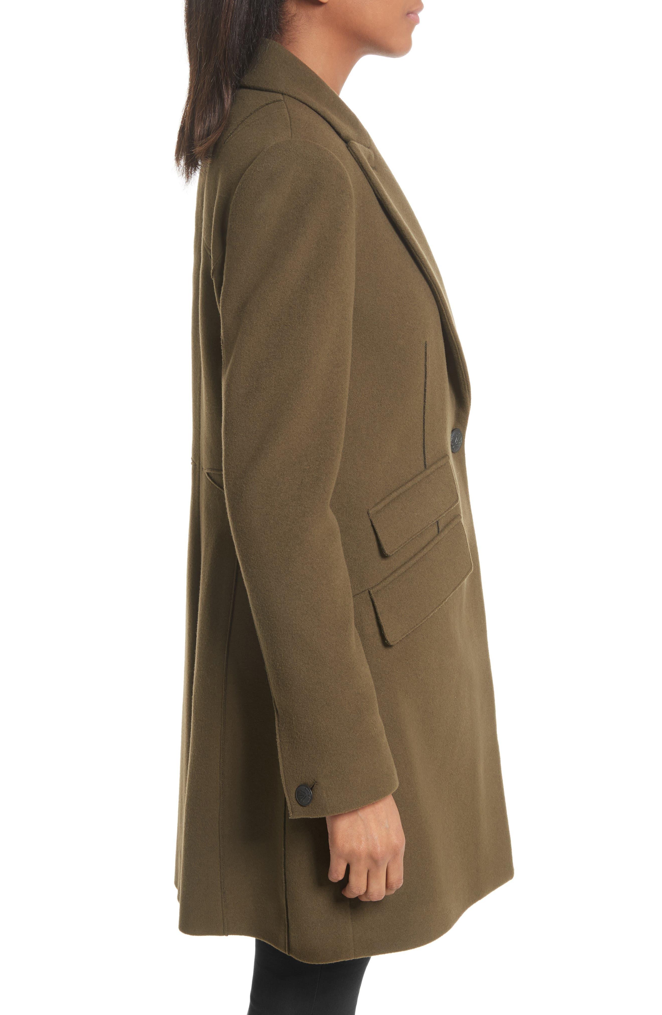 Duchess Wool Blend Coat,                             Alternate thumbnail 4, color,                             Olive