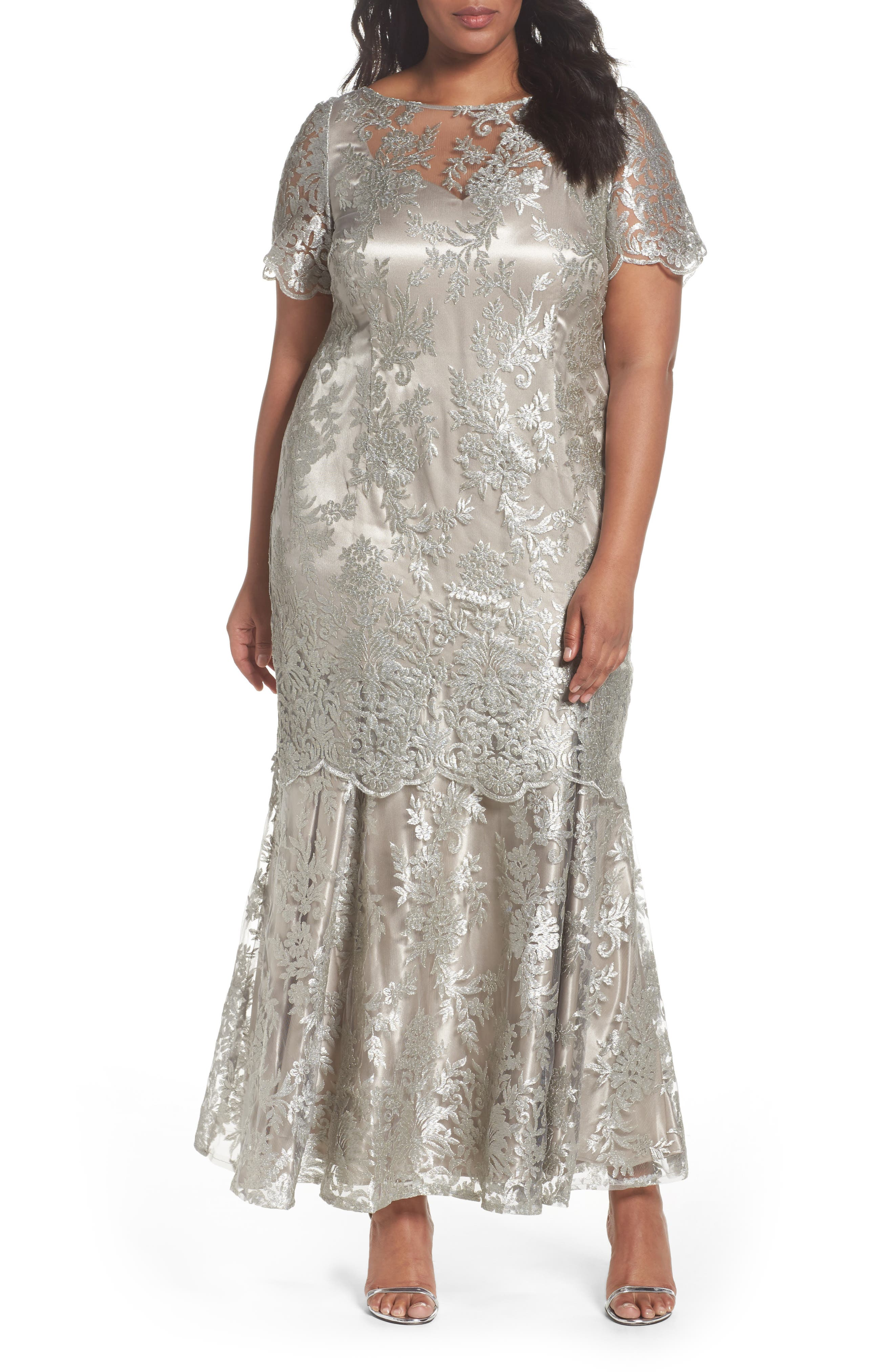 Embroidered Tiered Mermaid Gown,                             Main thumbnail 1, color,                             Platinum