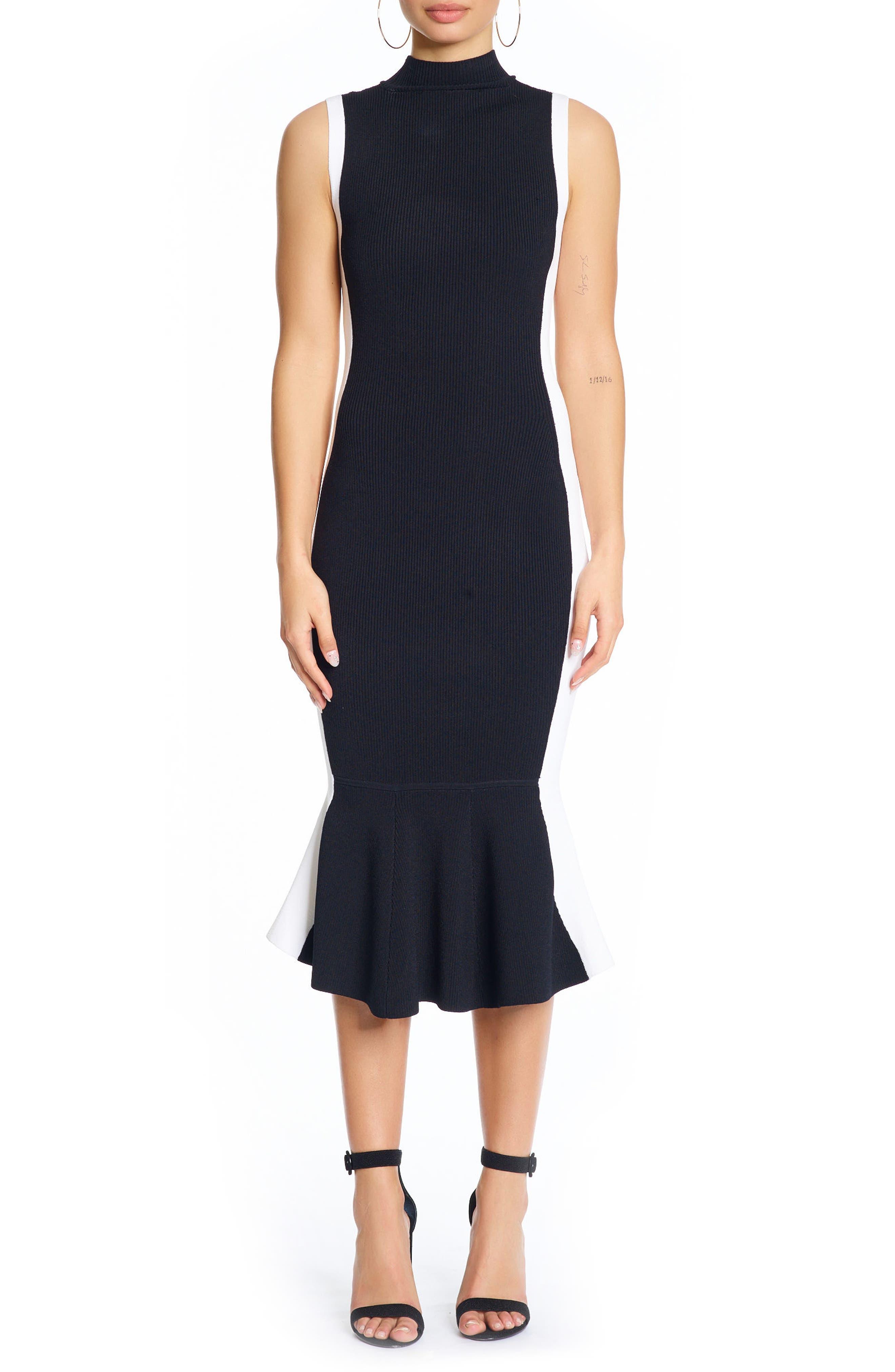 Illusion Peplum Dress,                         Main,                         color, Black/ Bright White