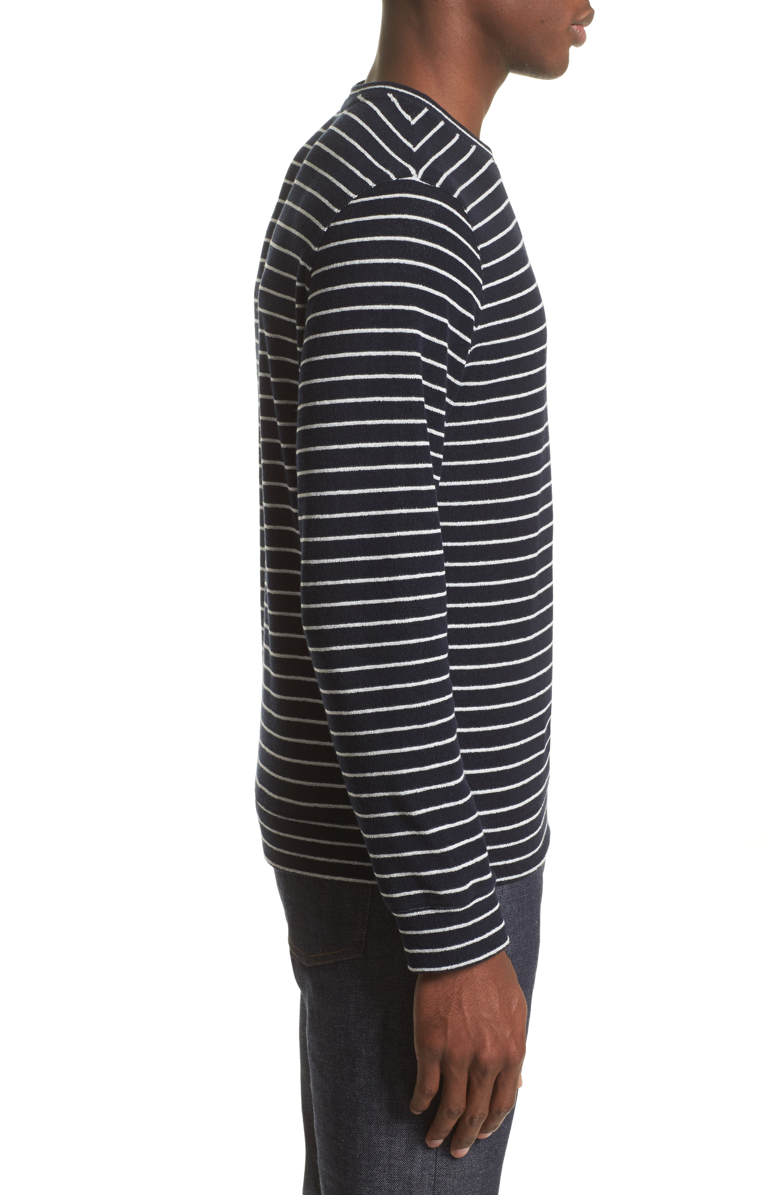 Yogi Striped Terry Sweatshirt,                             Alternate thumbnail 3, color,                             Dark Navy