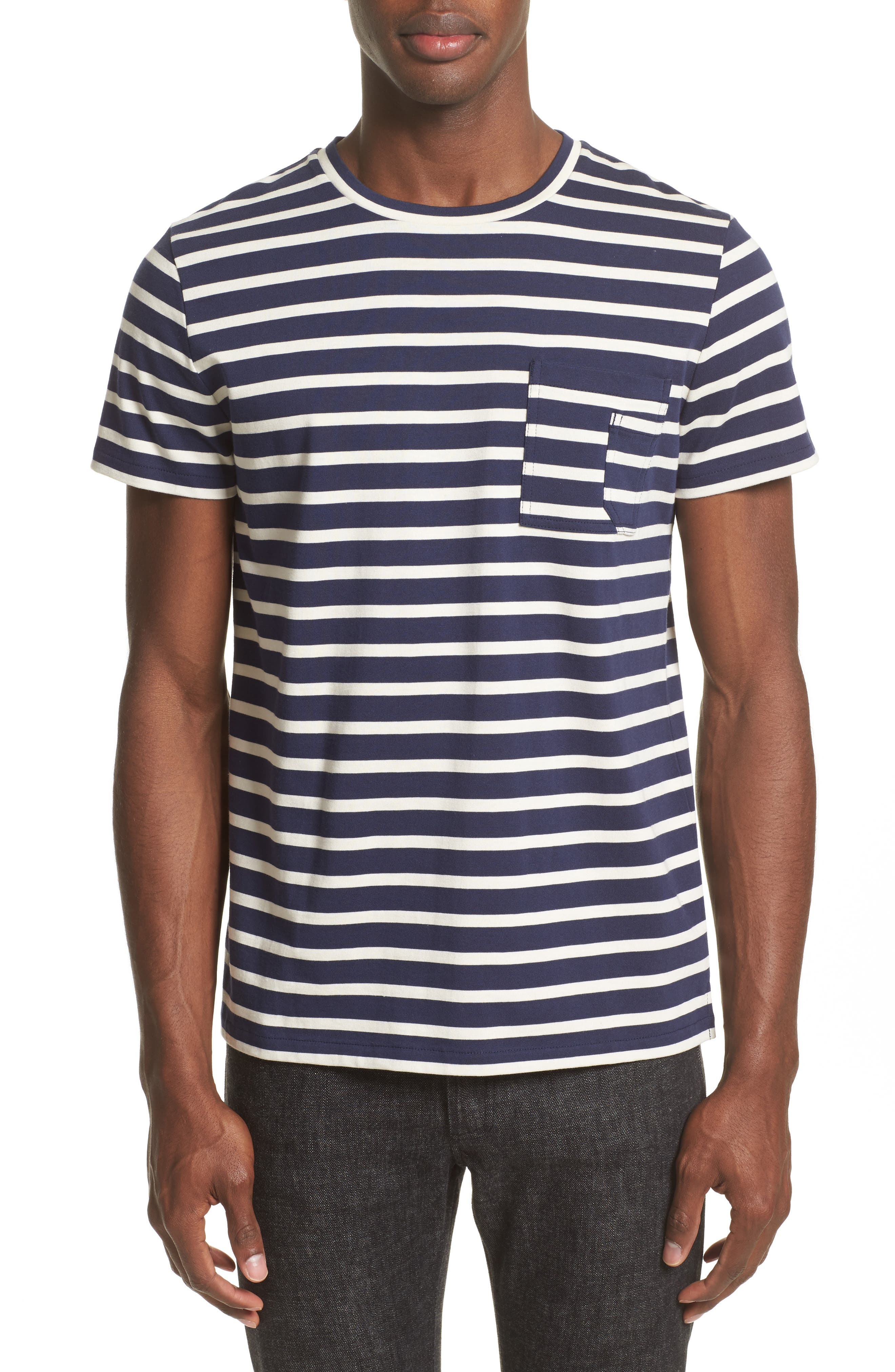 Alternate Image 1 Selected - A.P.C. Stripe Pocket T-Shirt