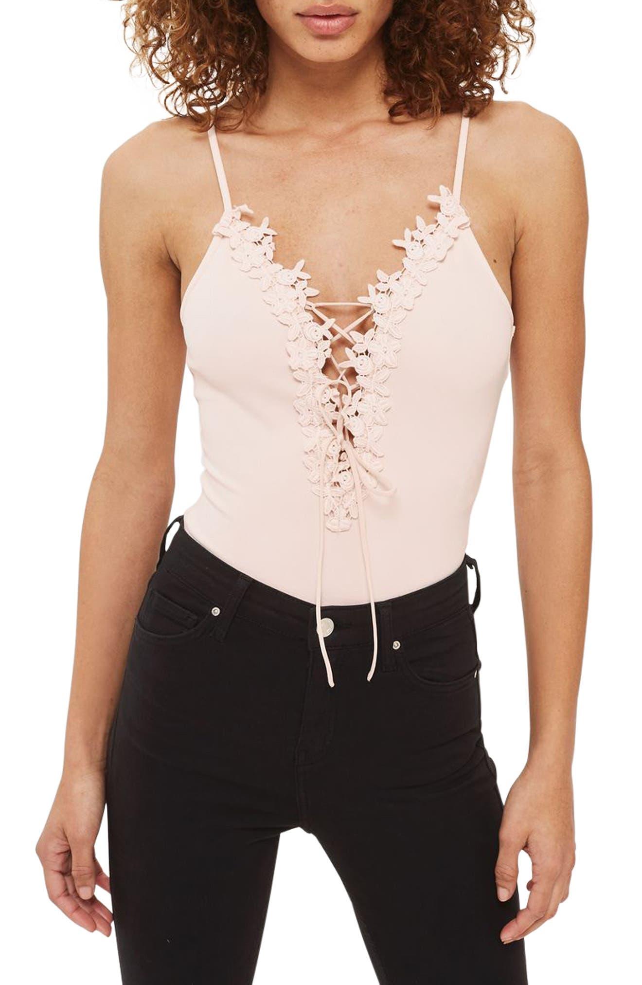 Alternate Image 1 Selected - Topshop Appliqué Lace-Up Bodysuit