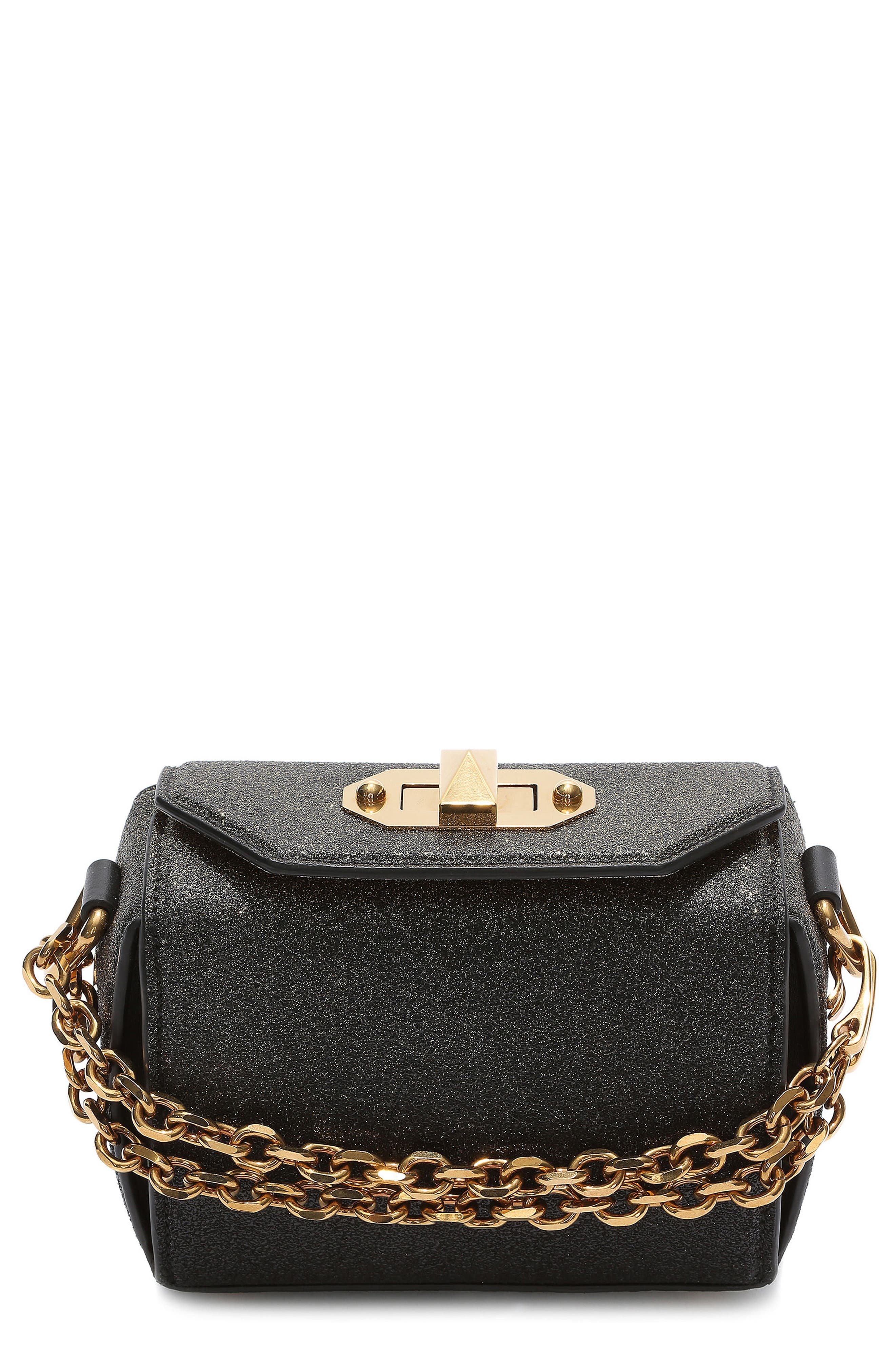 Mini Leather Box Bag,                         Main,                         color, Black/ Gold