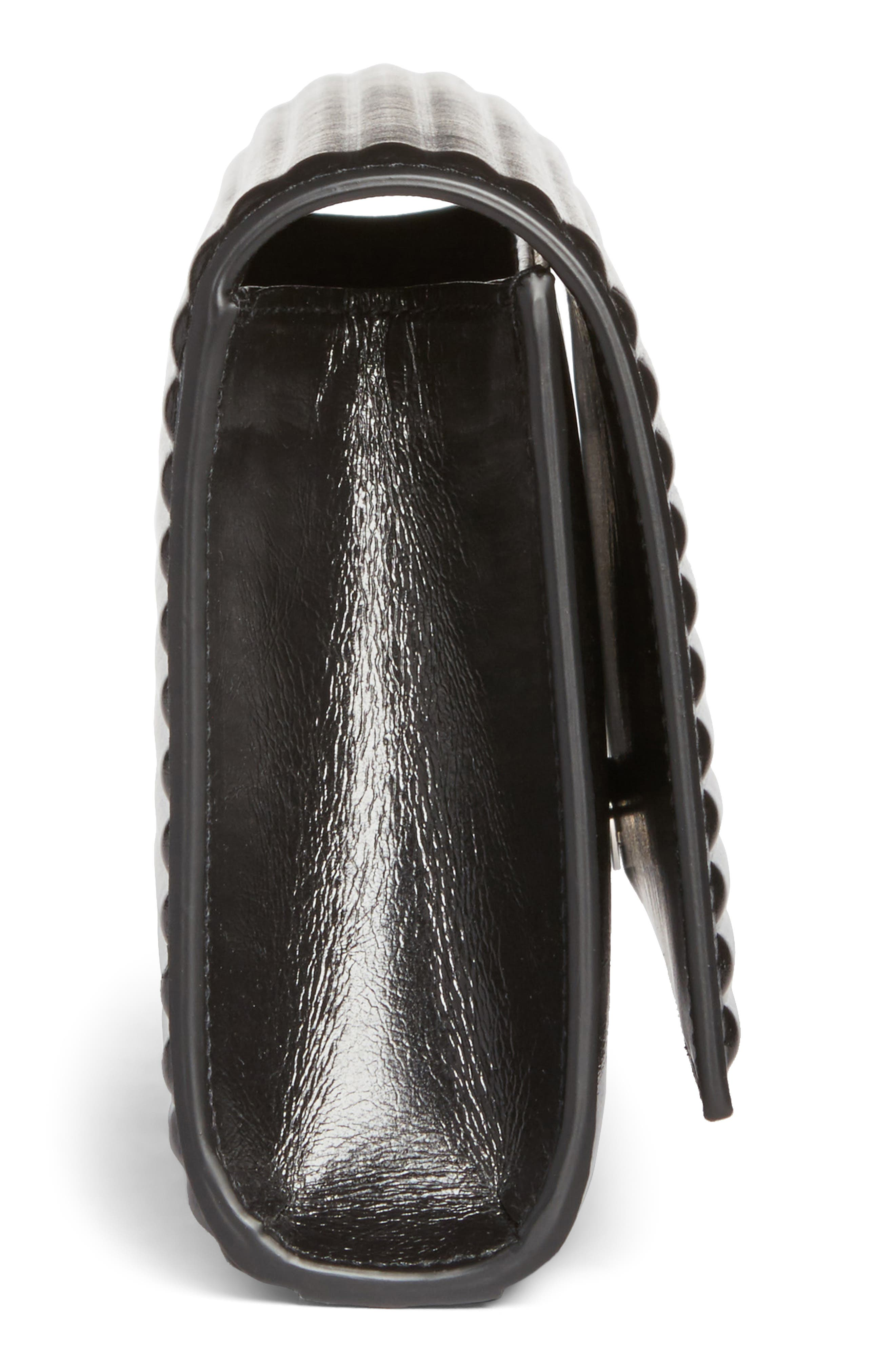 Kate Opium Leather Clutch,                             Alternate thumbnail 3, color,                             Nero