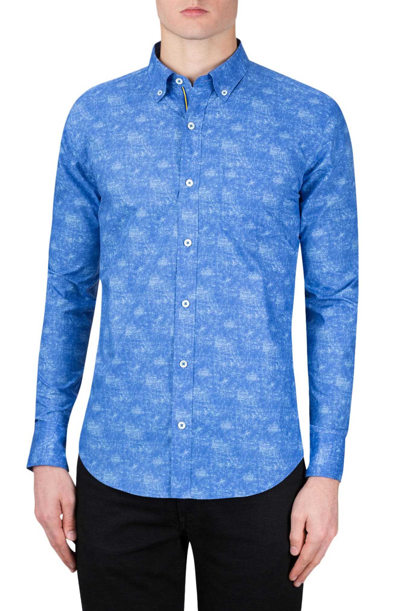 Shaped Fit Print Sport Shirt,                             Main thumbnail 1, color,                             Night Blue