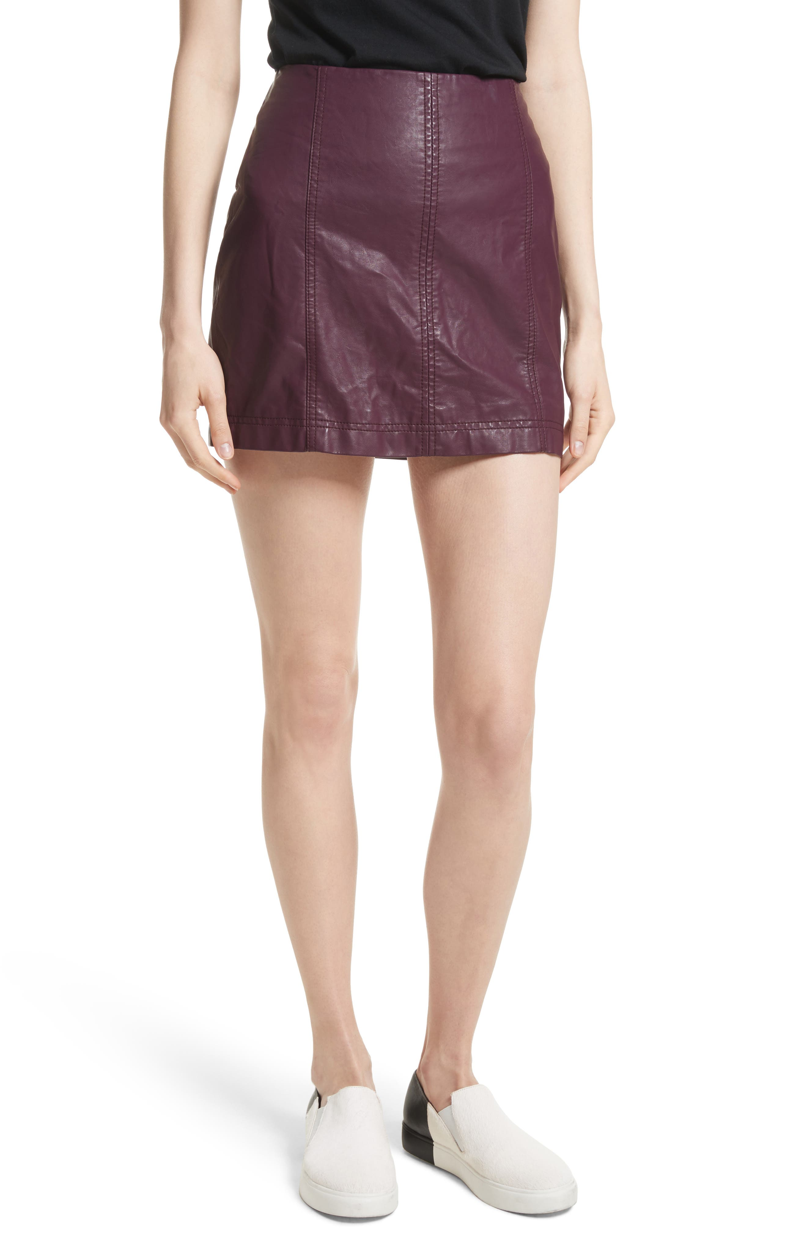 Free People Modern Femme Faux Leather Miniskirt