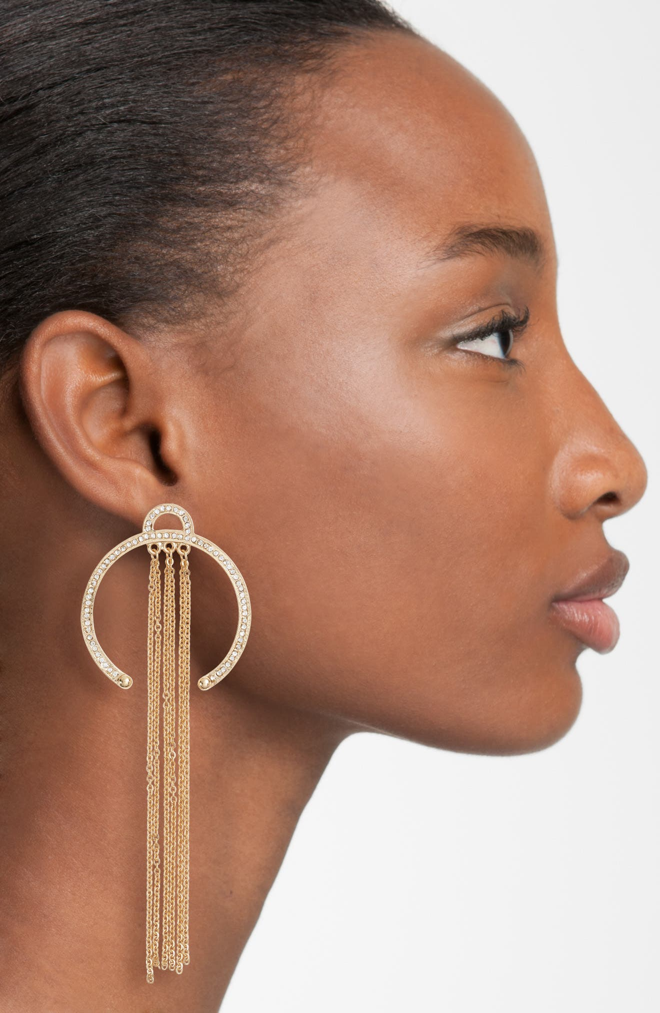 Open Hoop Drop Earrings,                             Alternate thumbnail 2, color,                             Gold