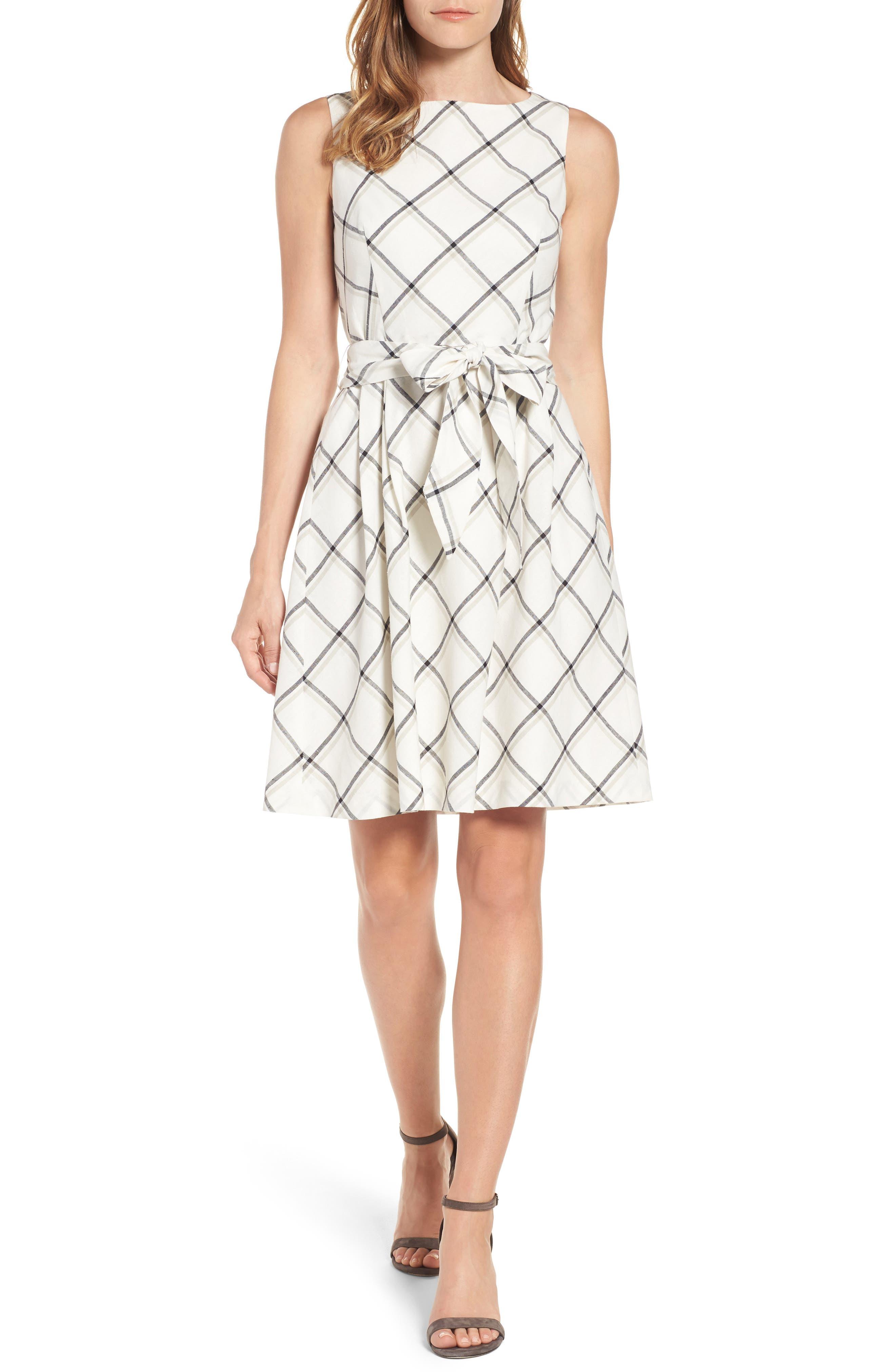 Anne Klein Windowpane Plaid Fit & Flare Dress