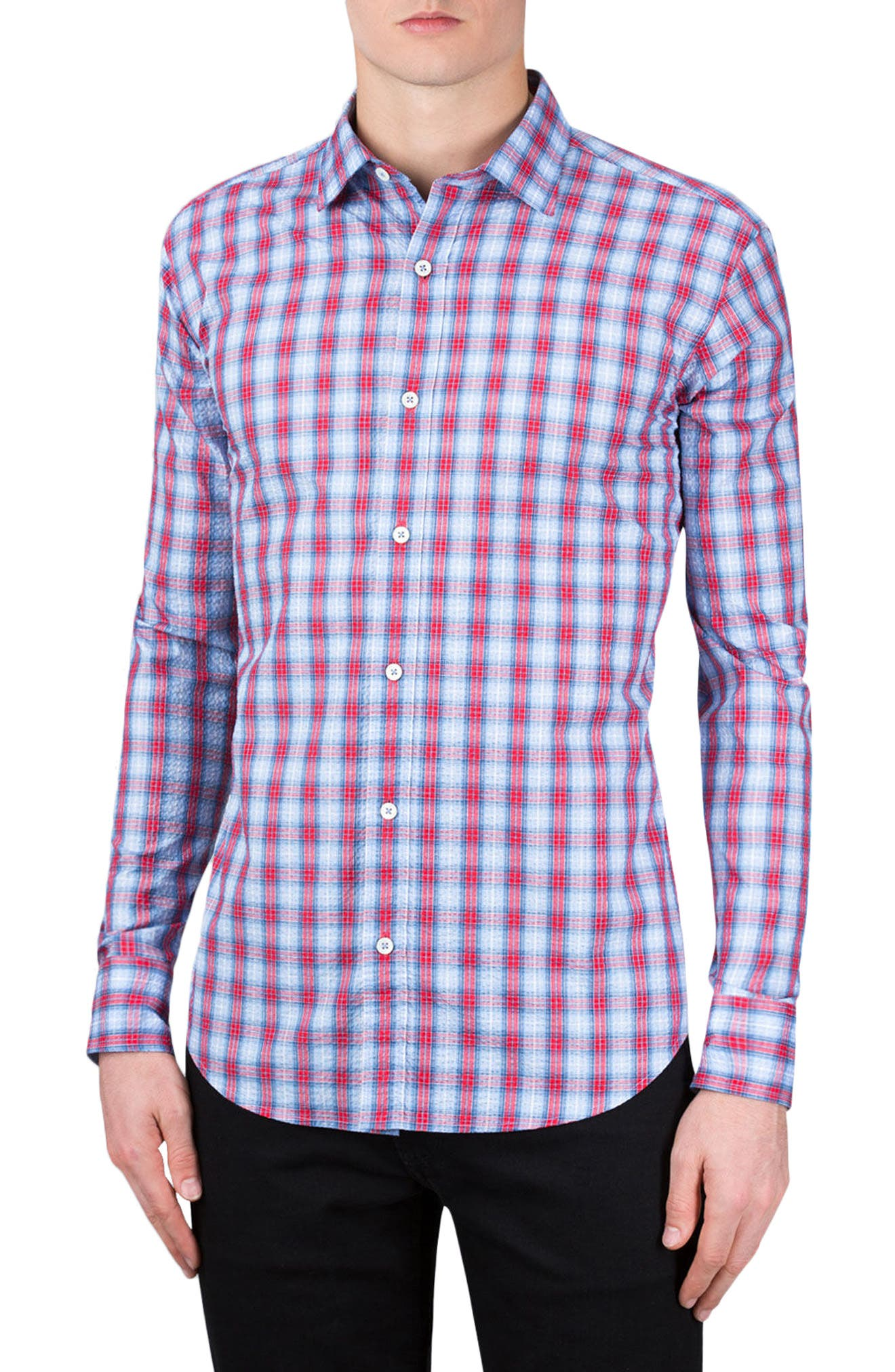 Shaped Fit Check Sport Shirt,                             Main thumbnail 1, color,                             Ruby
