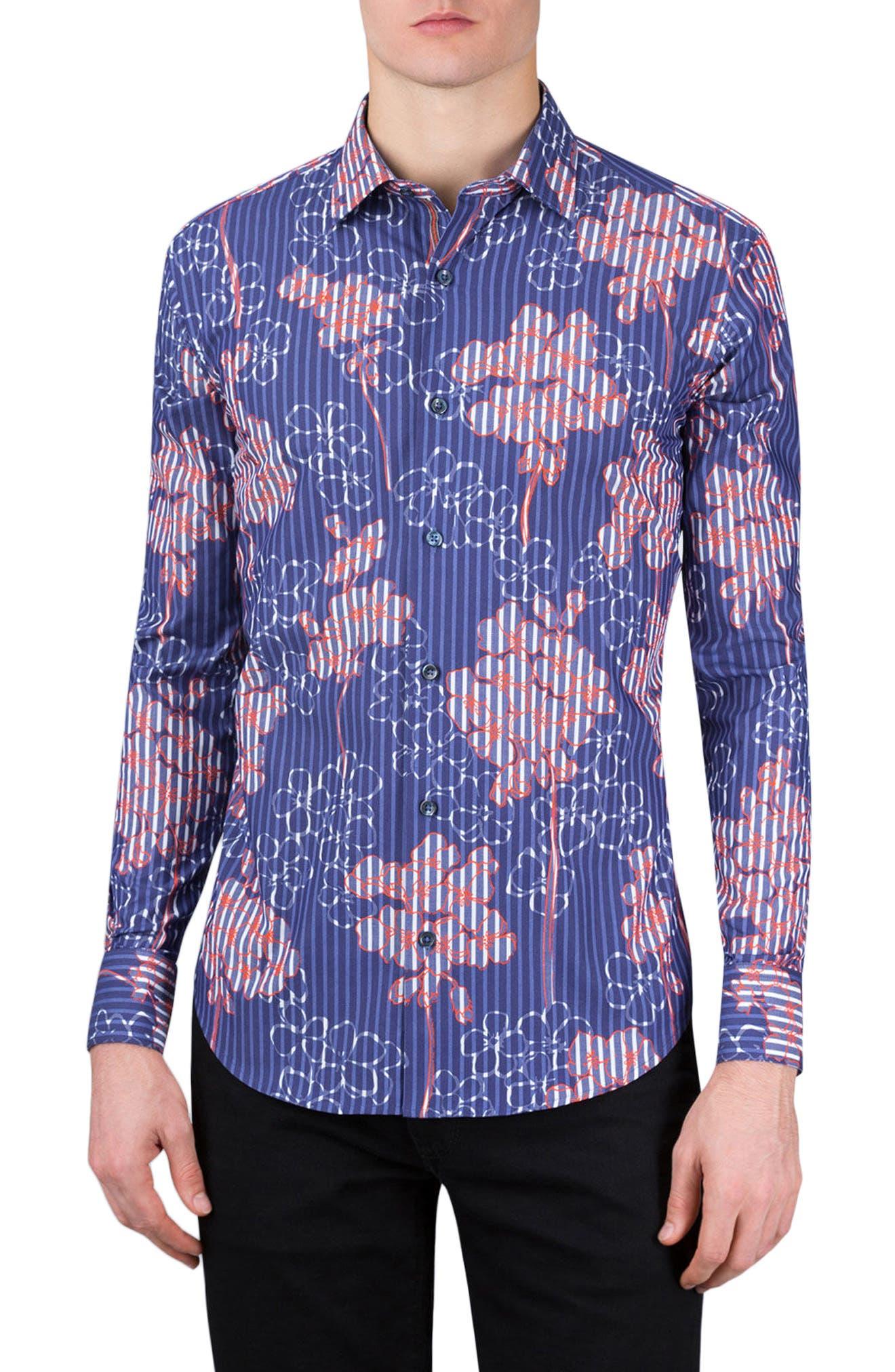 Shaped Fit Floral Stripe Sport Shirt,                         Main,                         color, Navy