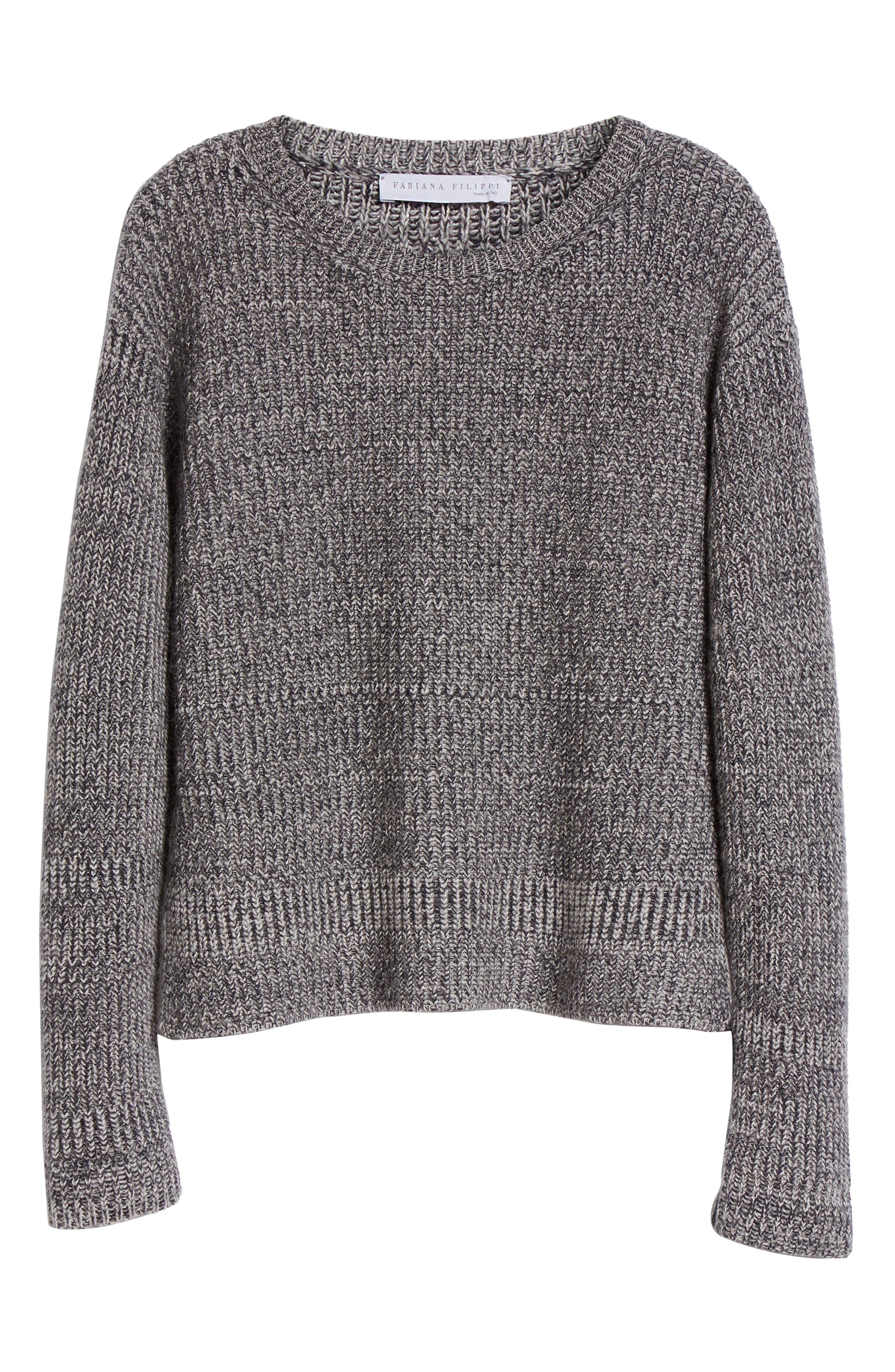 Herringbone Stitch Wool Blend Sweater,                             Alternate thumbnail 4, color,                             Grey Multi