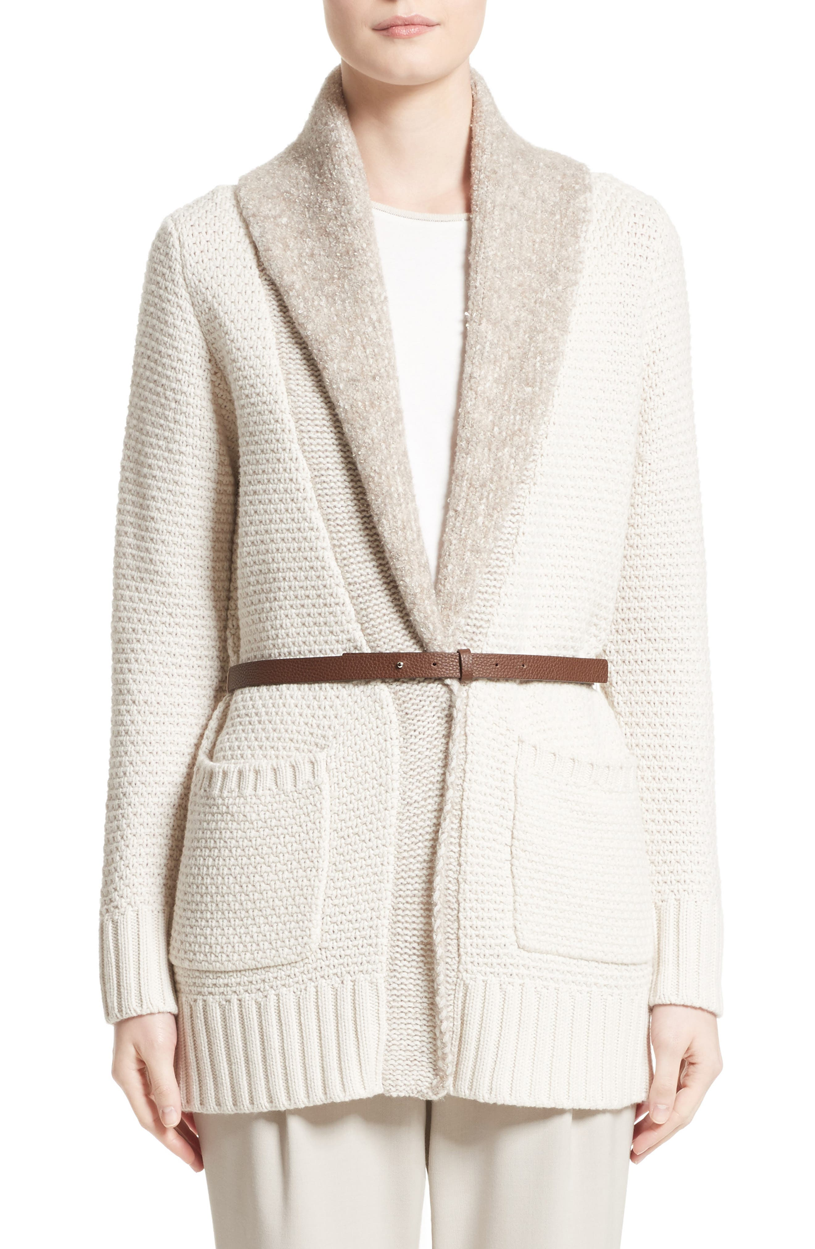 Wool, Silk & Cashmere Knit Cardigan,                         Main,                         color, Ecru