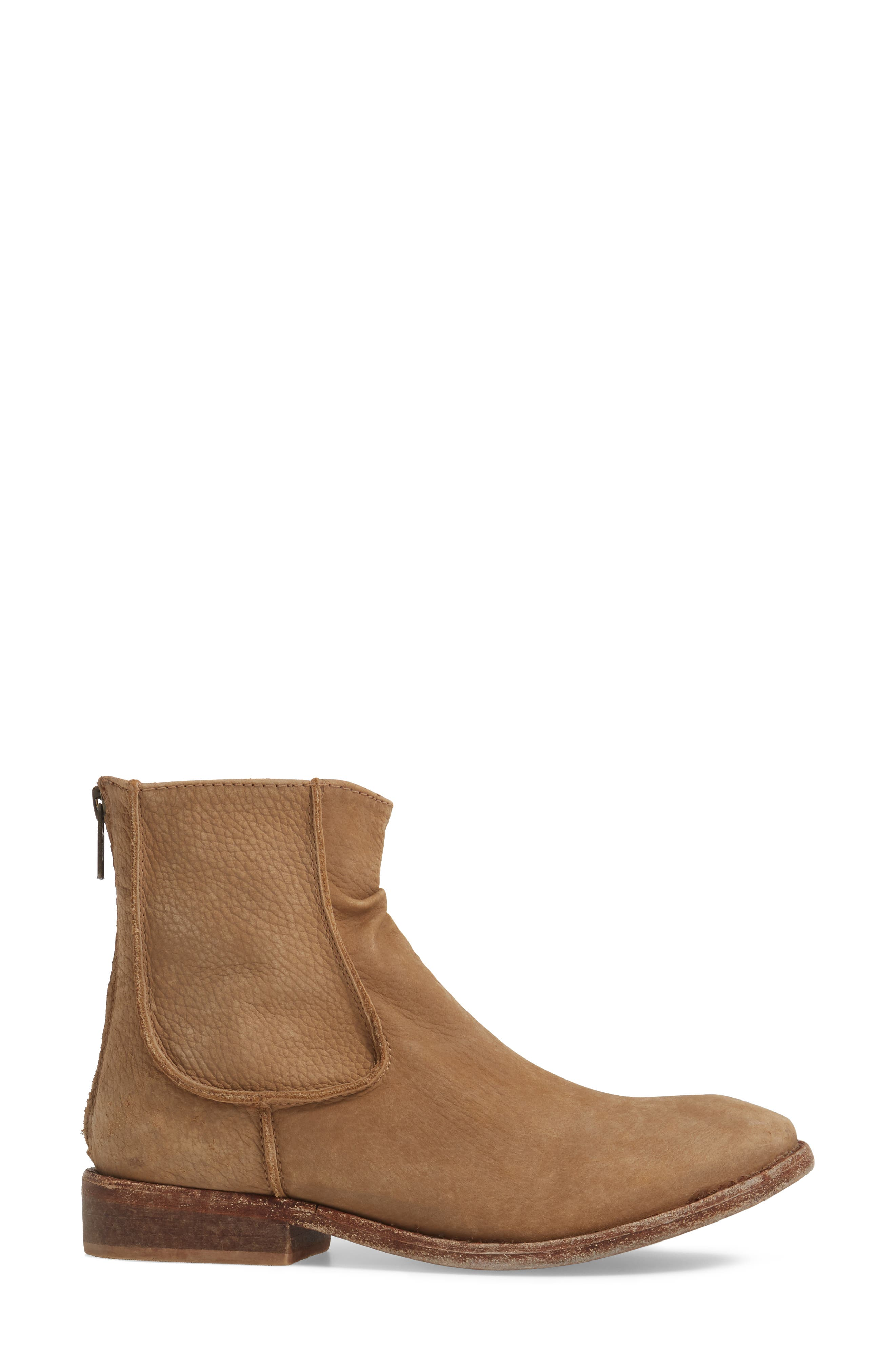 'Gerald' Distressed Bootie,                             Alternate thumbnail 3, color,                             Natural Leather