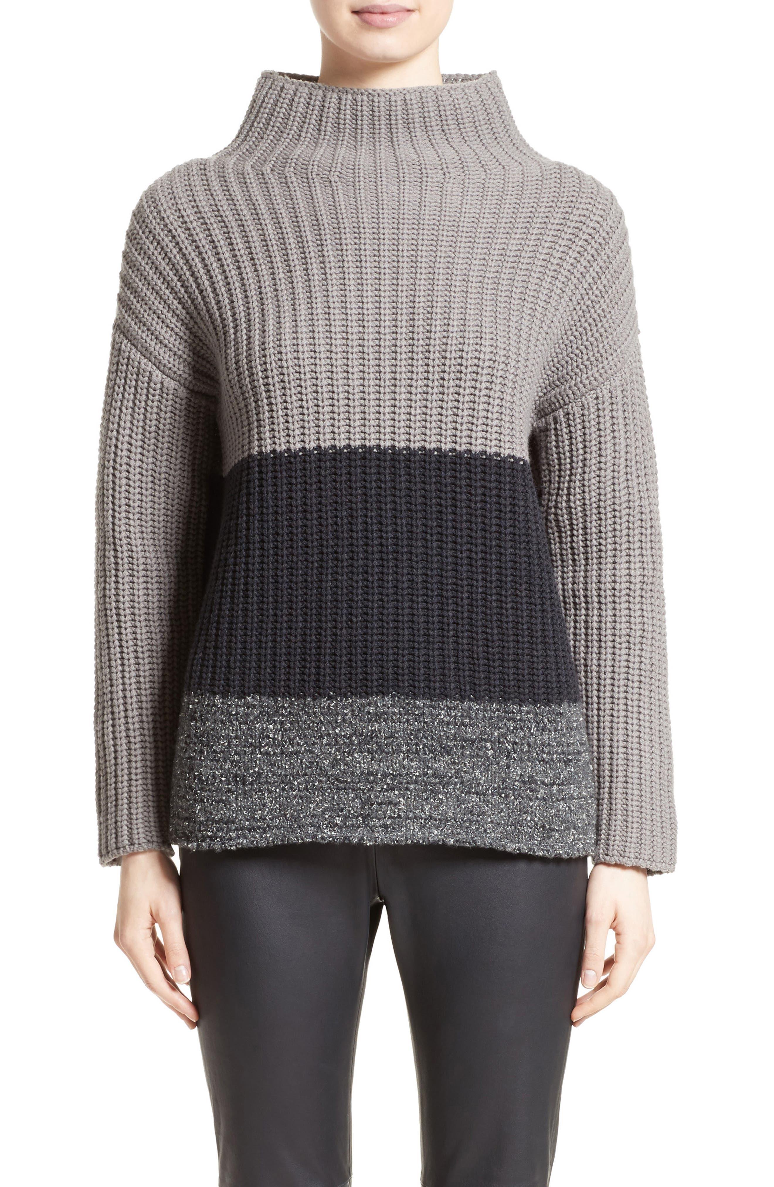 Ribbed Colorblock Sweater,                             Main thumbnail 1, color,                             Grey Multi