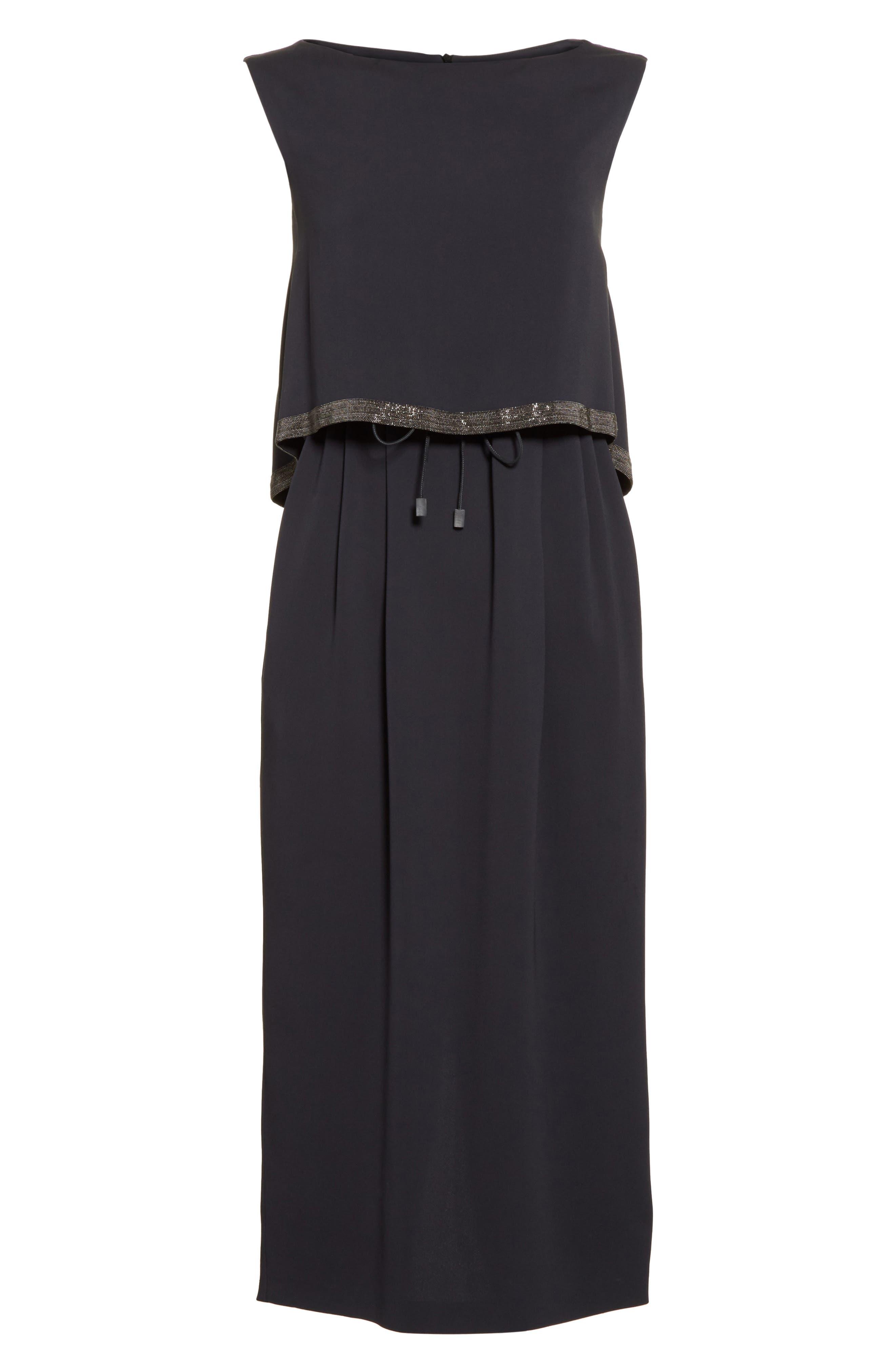 Embellished Silk Drawstring Dress,                             Alternate thumbnail 4, color,                             Slate