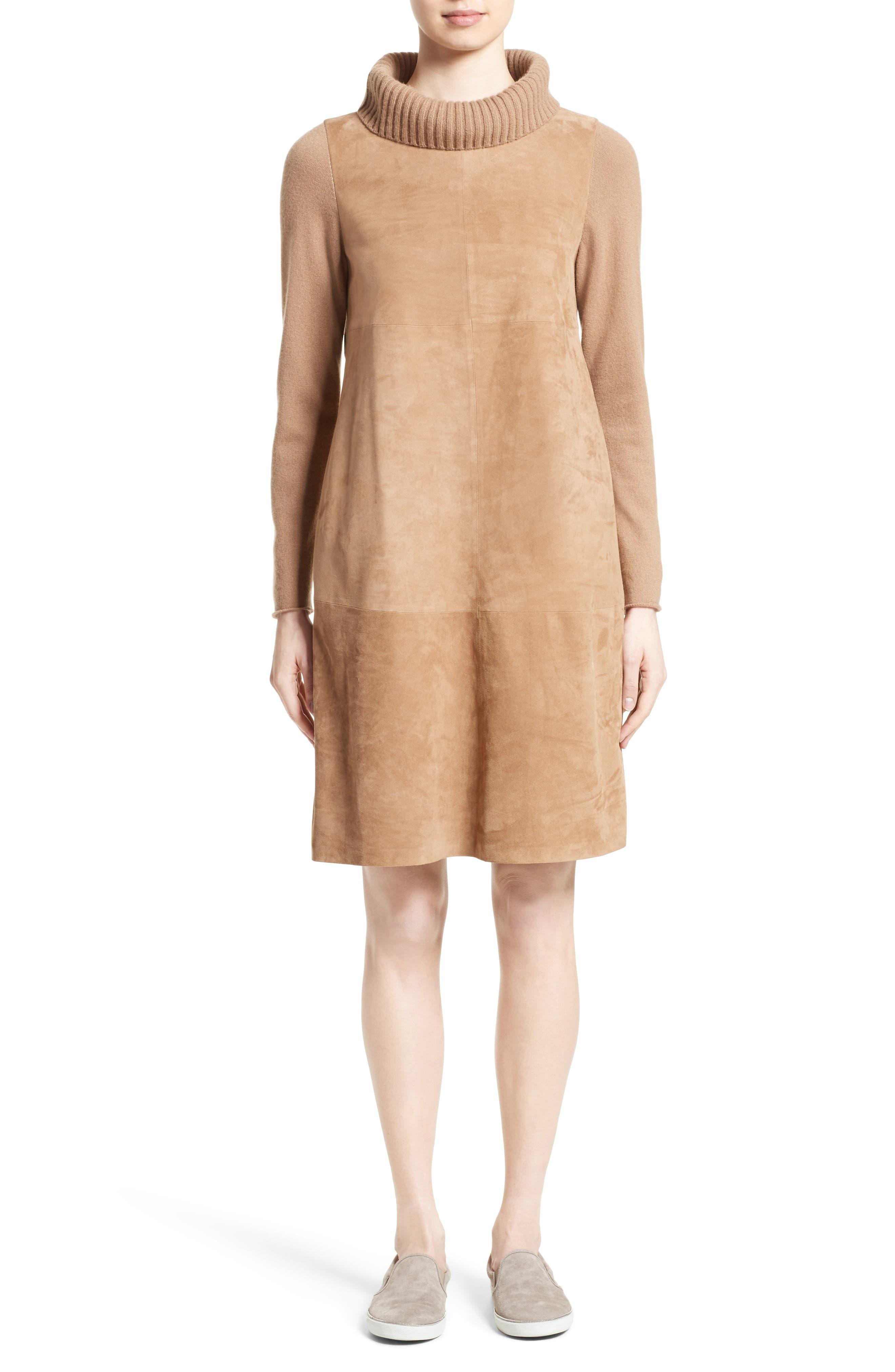 Suede & Cashmere Dress,                             Main thumbnail 1, color,                             Camel