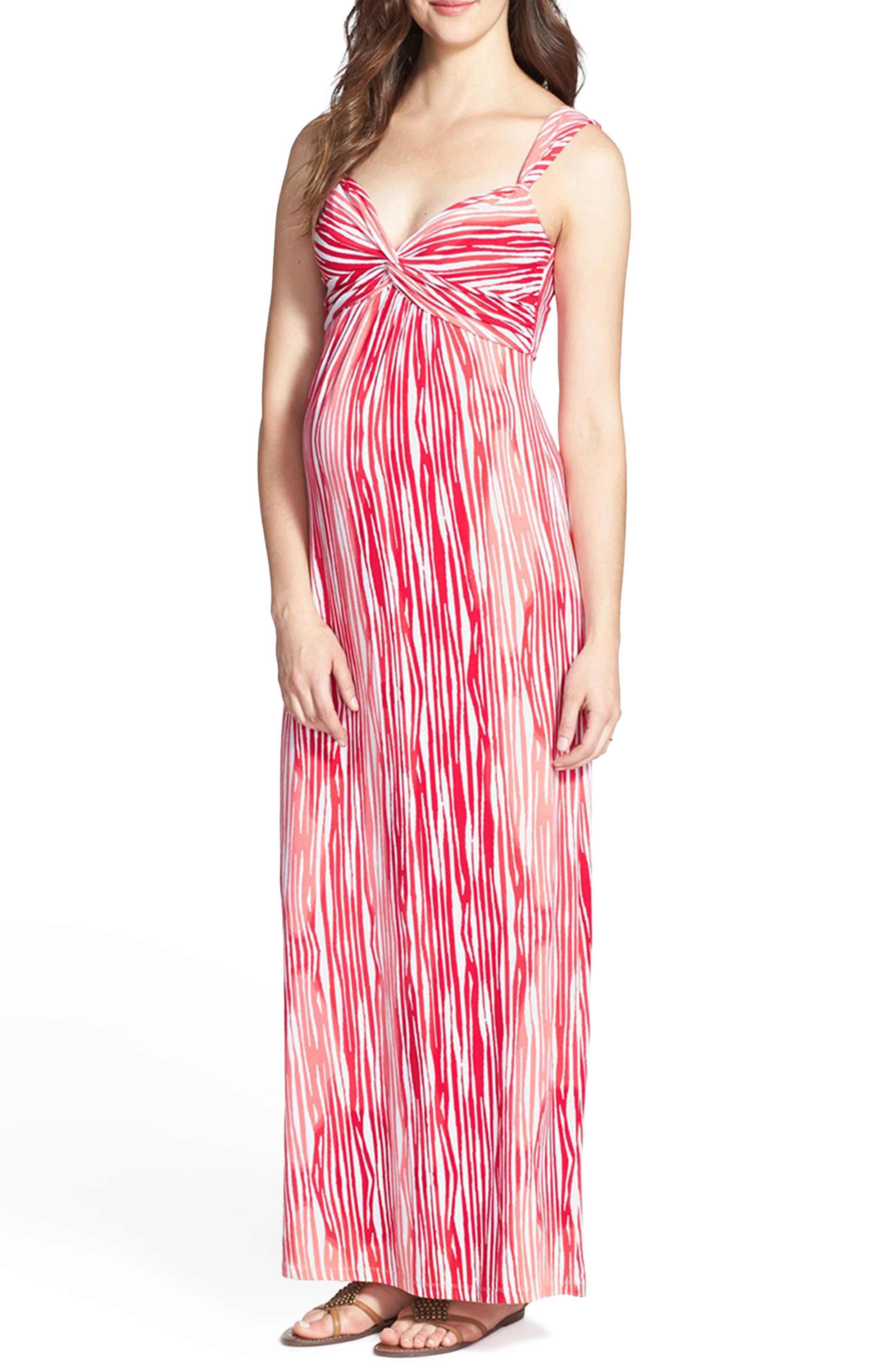 'Callie' Jersey Maxi Maternity Dress,                         Main,                         color, Coral Brush Stripe