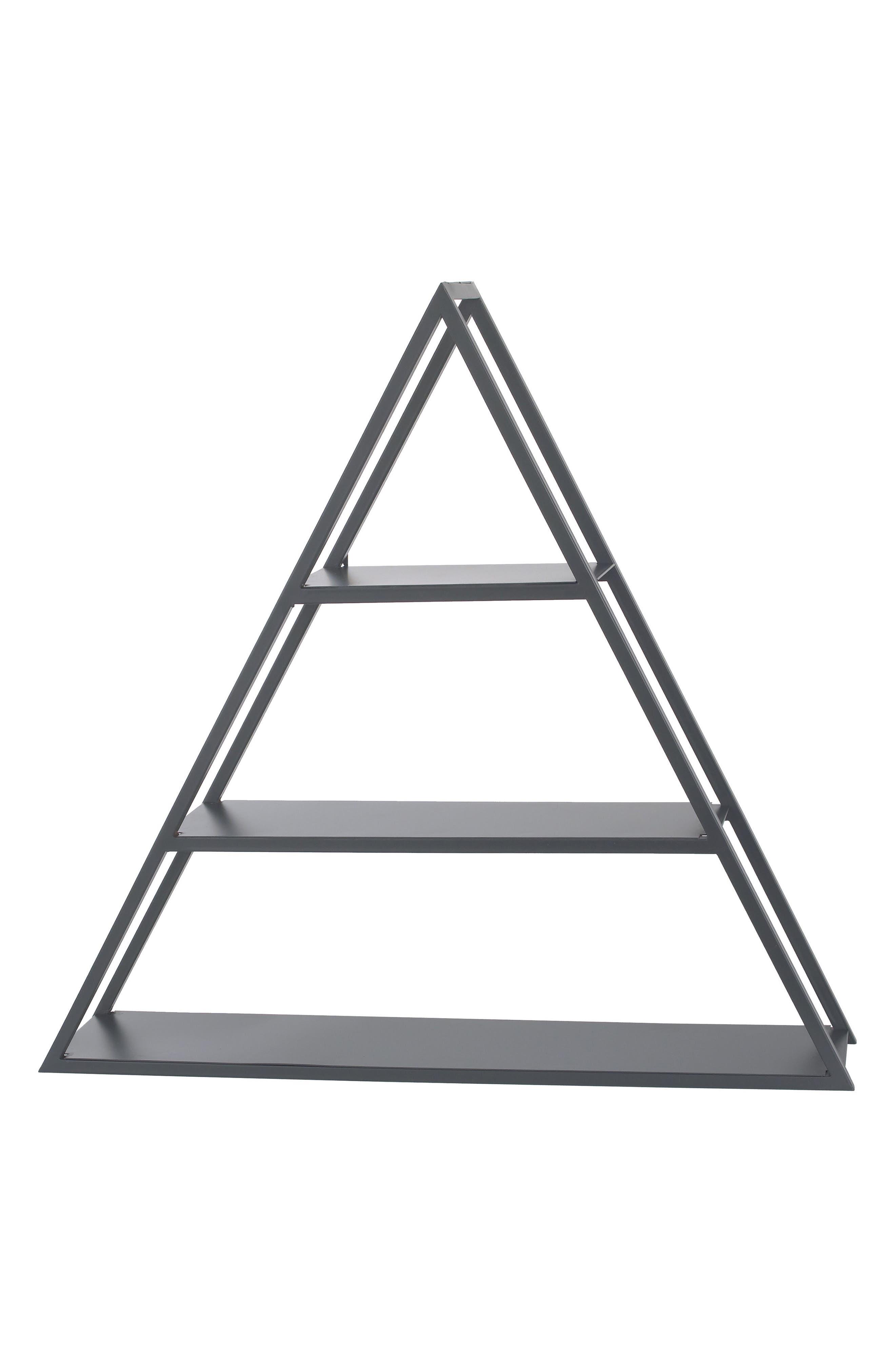 Metal Triangle Shelf,                             Main thumbnail 1, color,                             Smoke