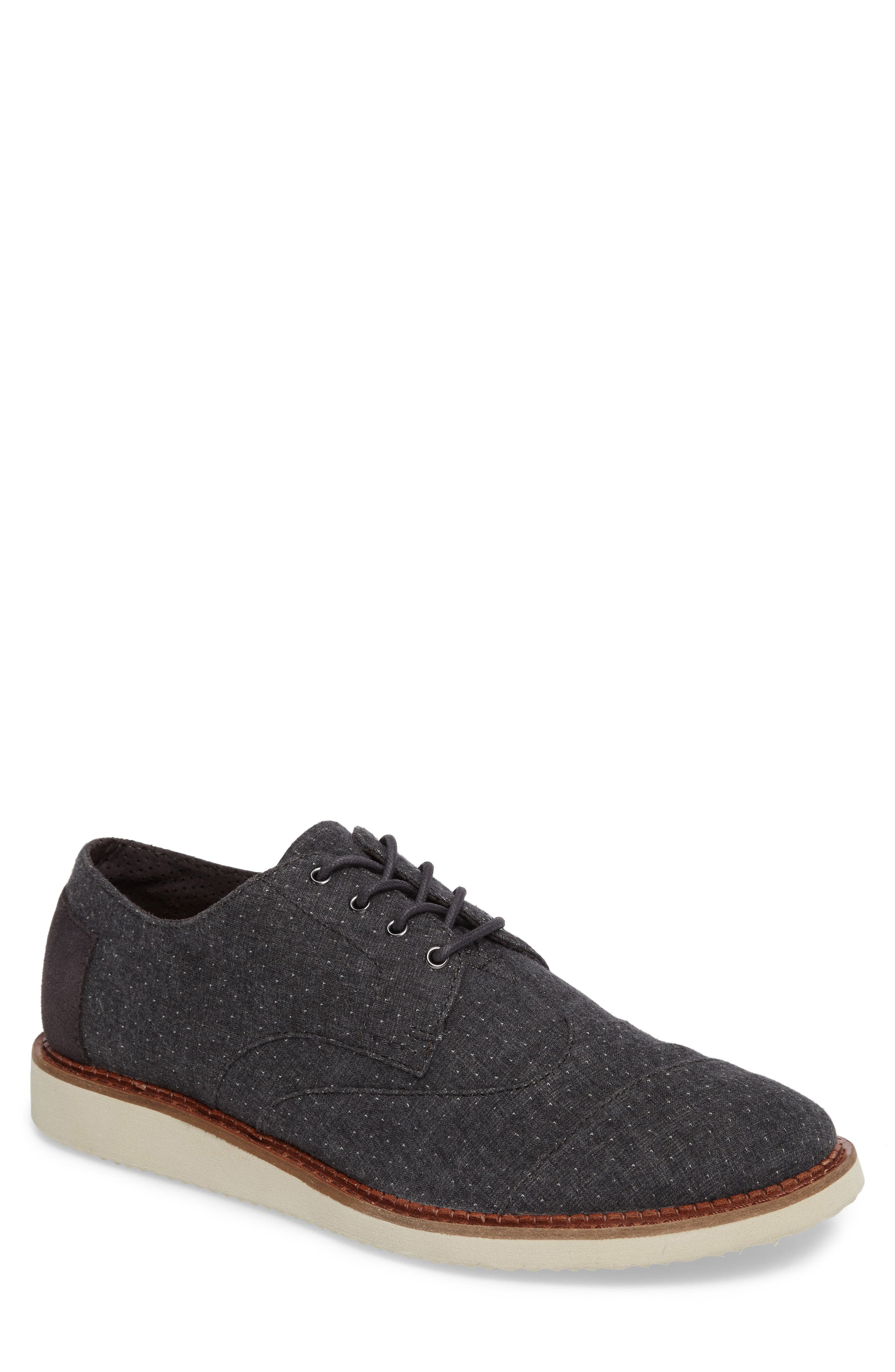 'Classic Brogue' Cotton Twill Derby,                             Main thumbnail 1, color,                             Grey