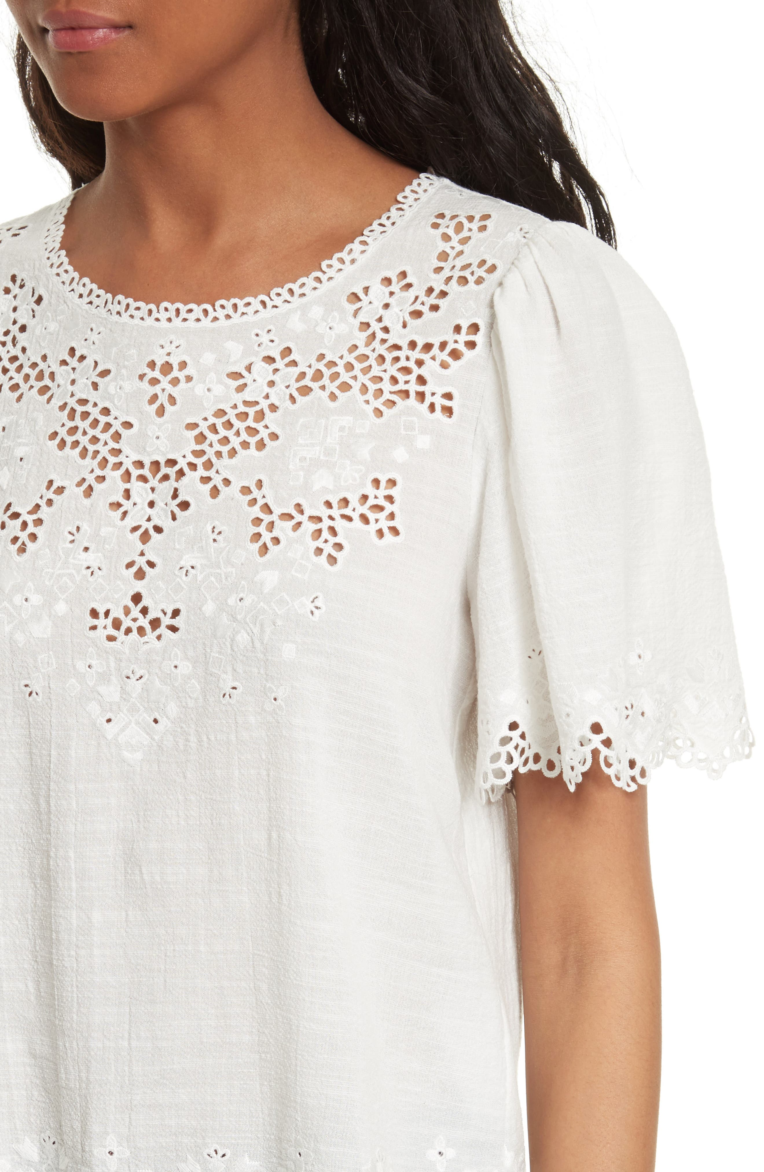 Amore Embroidered Top,                             Alternate thumbnail 4, color,                             Milk