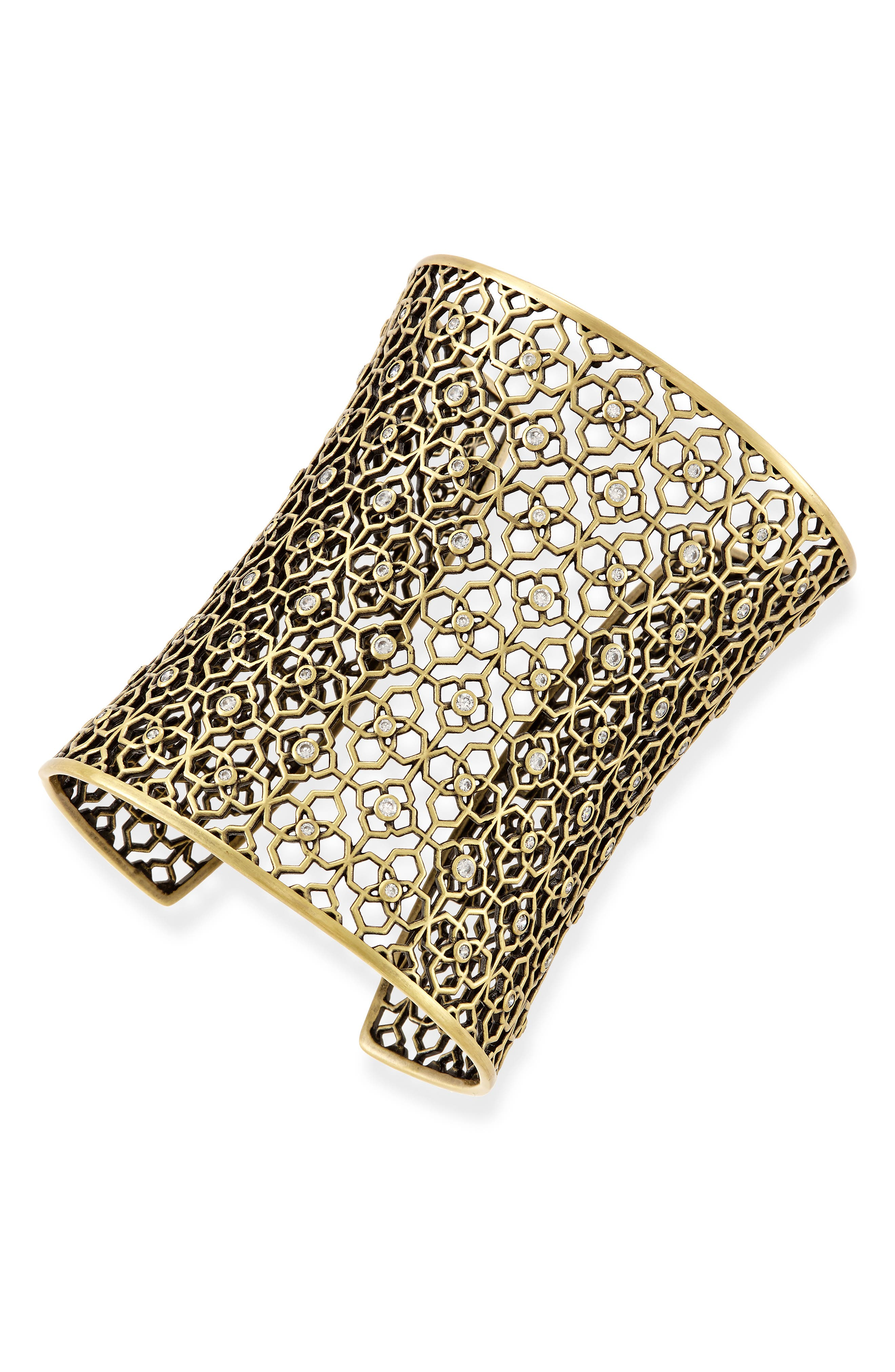Jude Extra Wide Cuff,                             Alternate thumbnail 2, color,                             White Cz/ Antique Brass